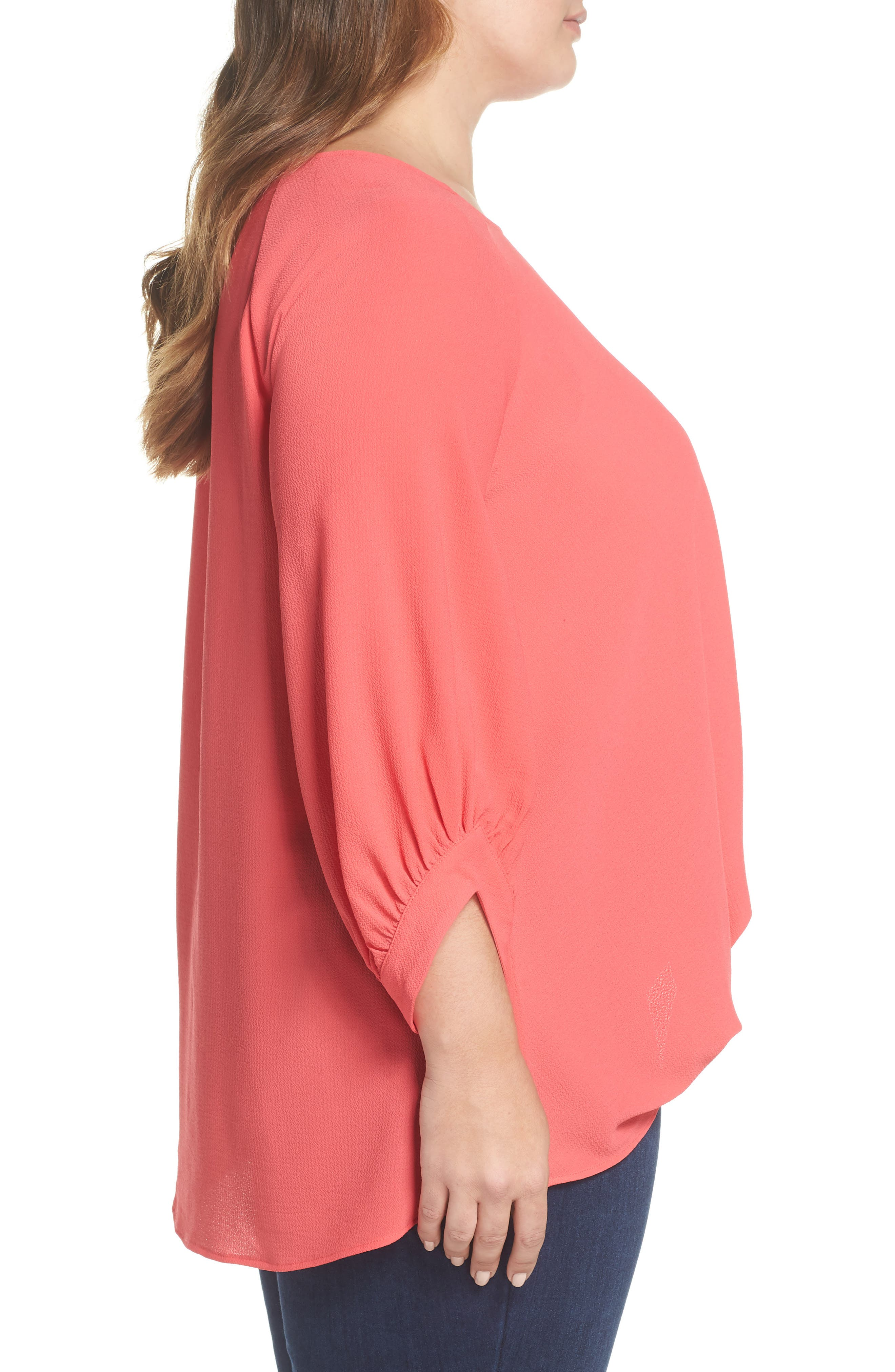 x Living in Yellow Maggie Twist Hem Top,                             Alternate thumbnail 4, color,                             Poppy