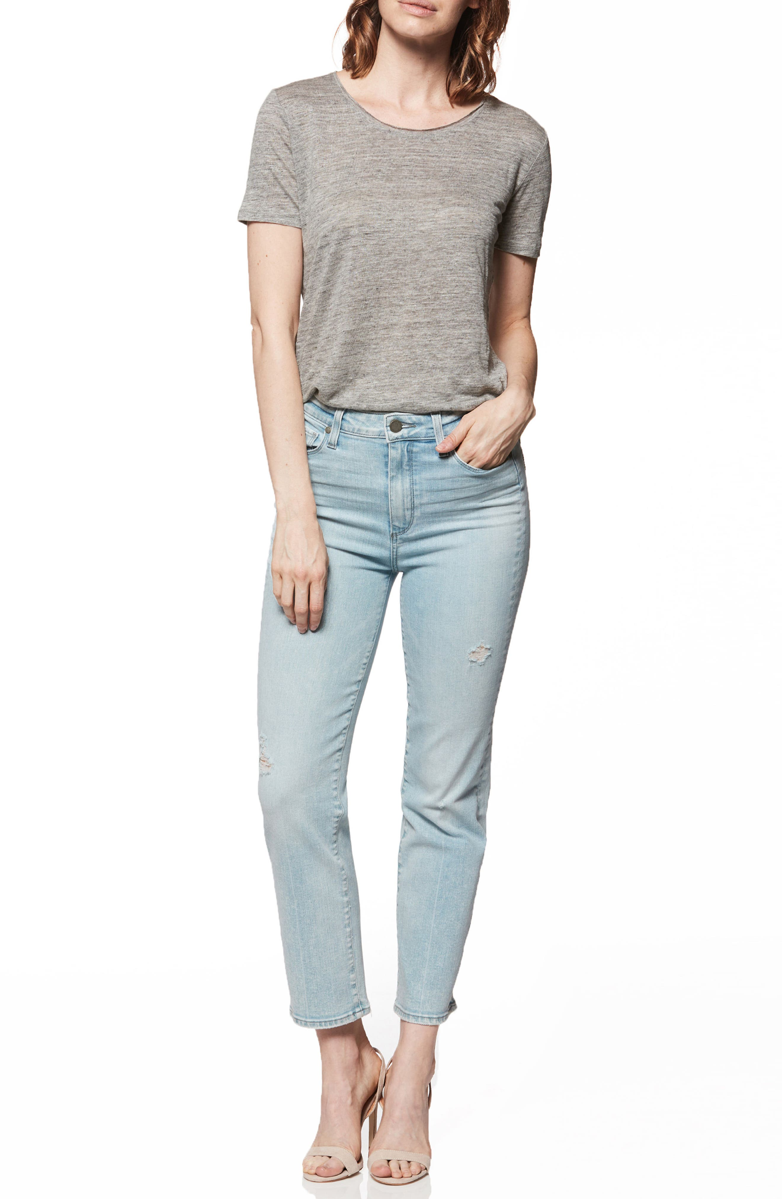 Margot High Waist Straight Leg Jeans,                             Alternate thumbnail 3, color,                             Pasadena W/ Wash Crease
