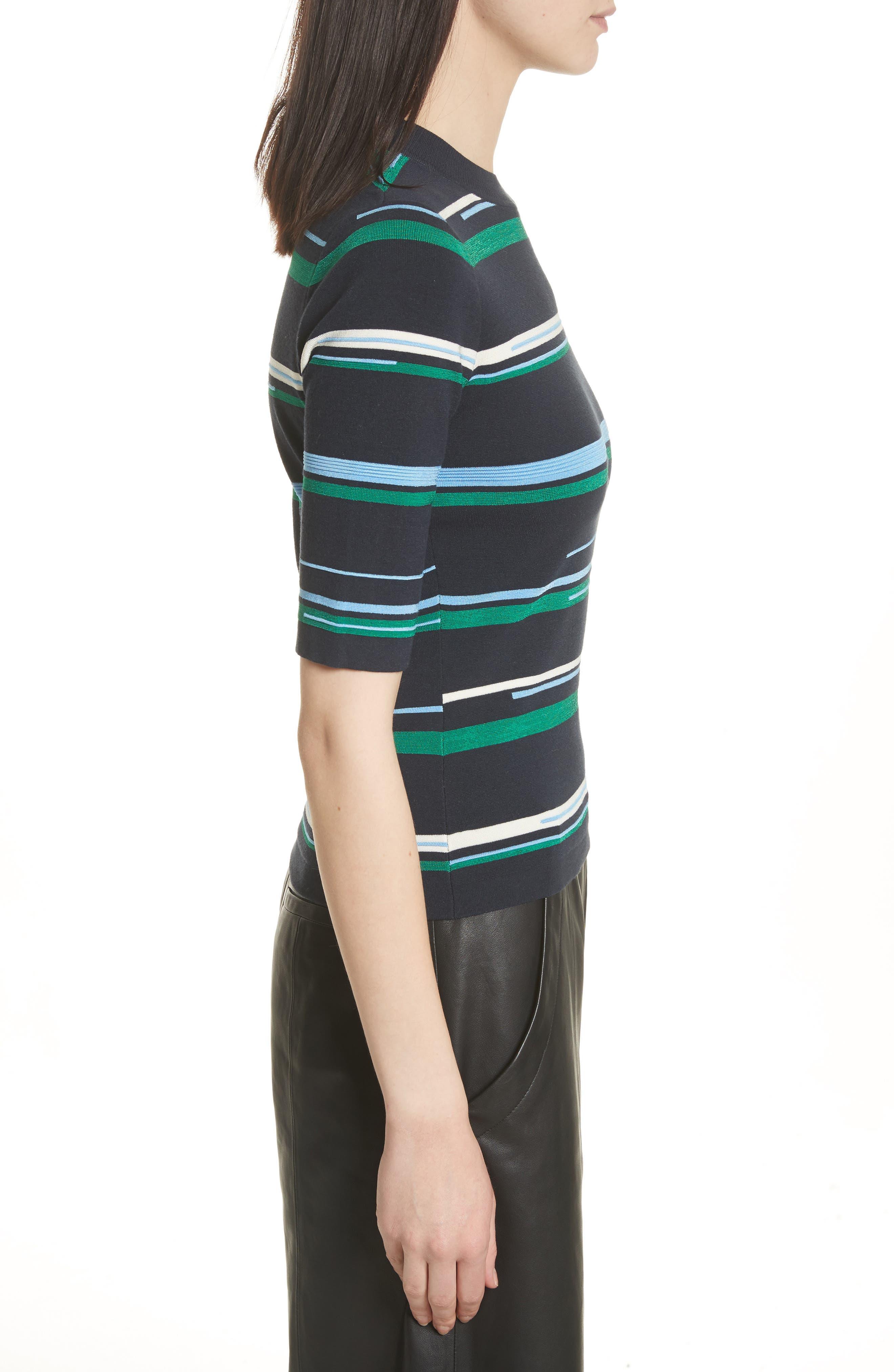 Stripe Knit Top,                             Alternate thumbnail 3, color,                             Midnight Multi