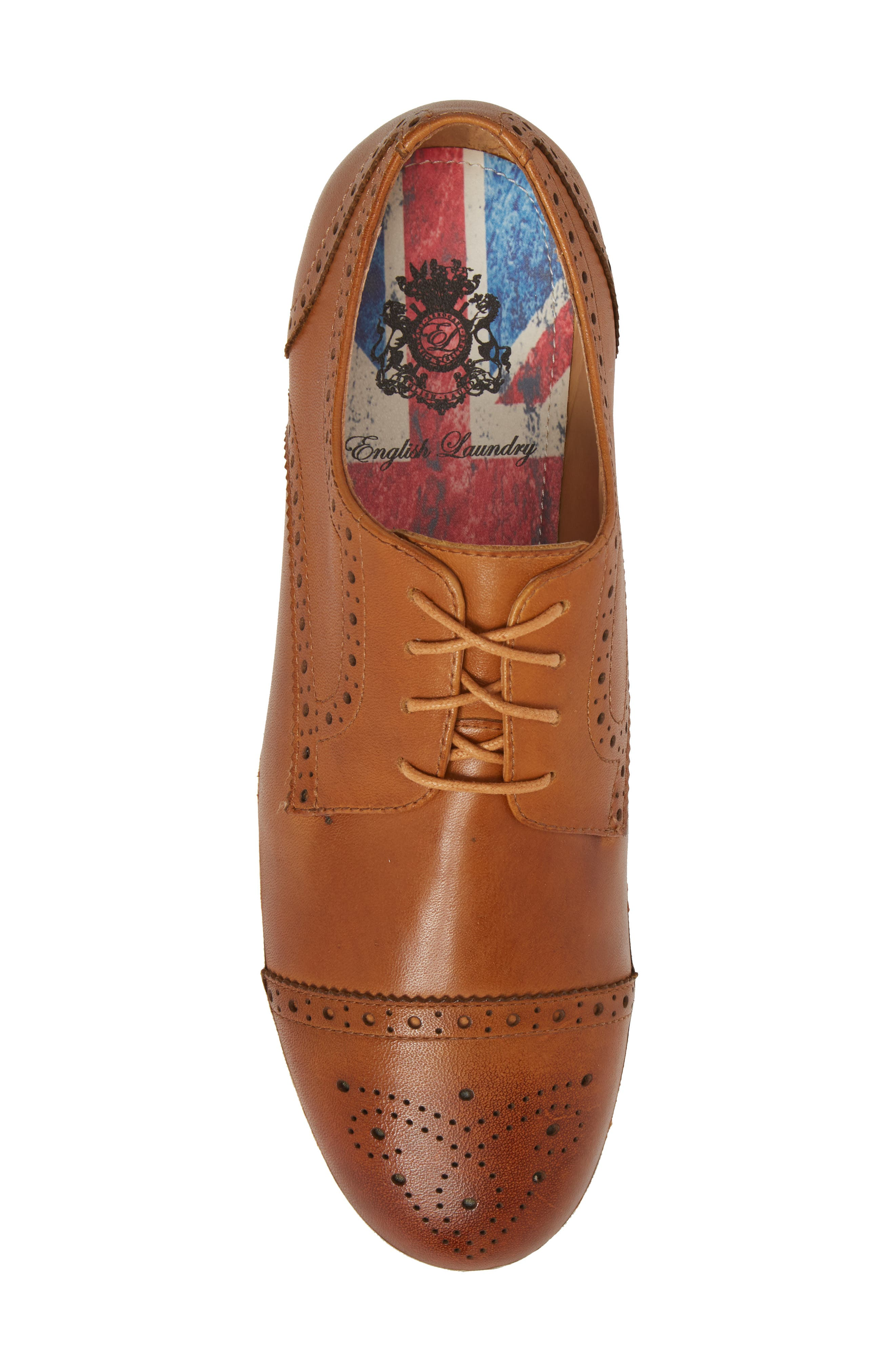 Dunnet Cap Toe Sneaker,                             Alternate thumbnail 5, color,                             Cognac Leather
