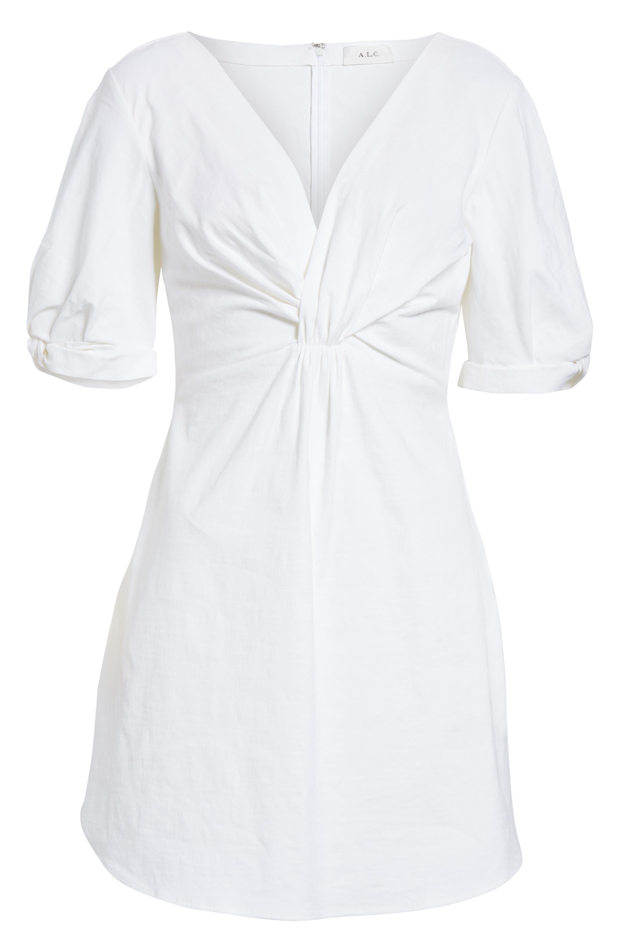 Mirren Twist Front Linen Blend Dress,                             Alternate thumbnail 6, color,                             Gesso