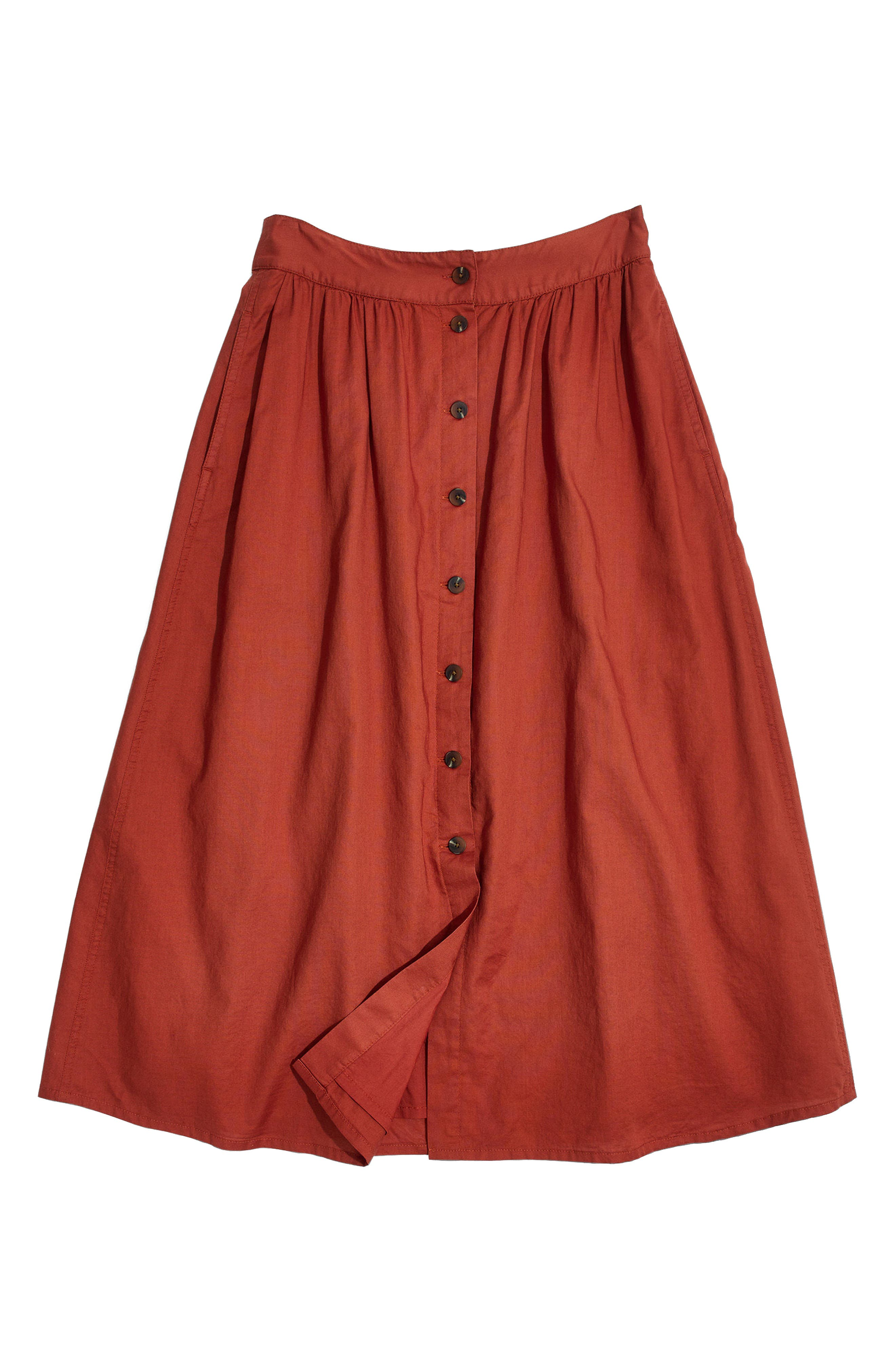 Palisade Button Front Midi Skirt,                             Alternate thumbnail 4, color,                             Rusty Torch