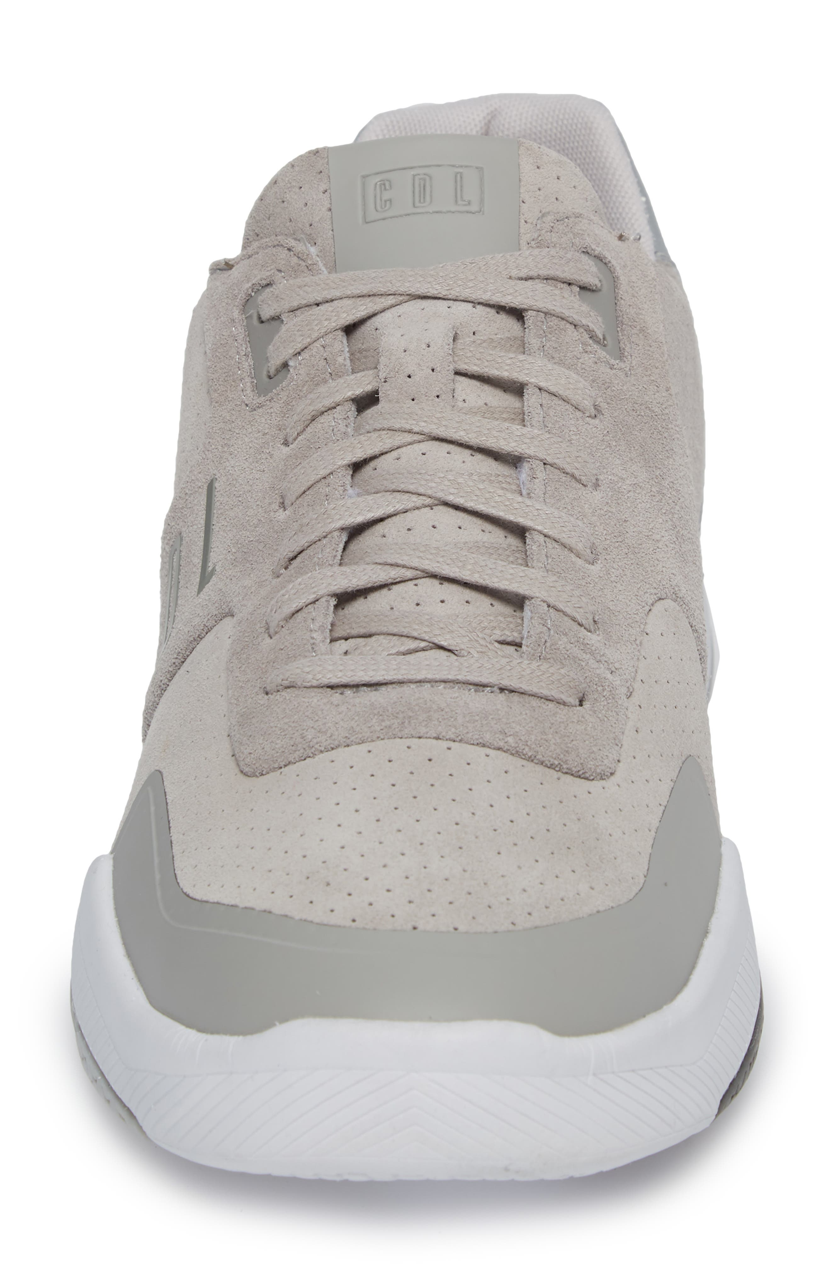 Shima Low Top Sneaker,                             Alternate thumbnail 4, color,                             Grey Suede