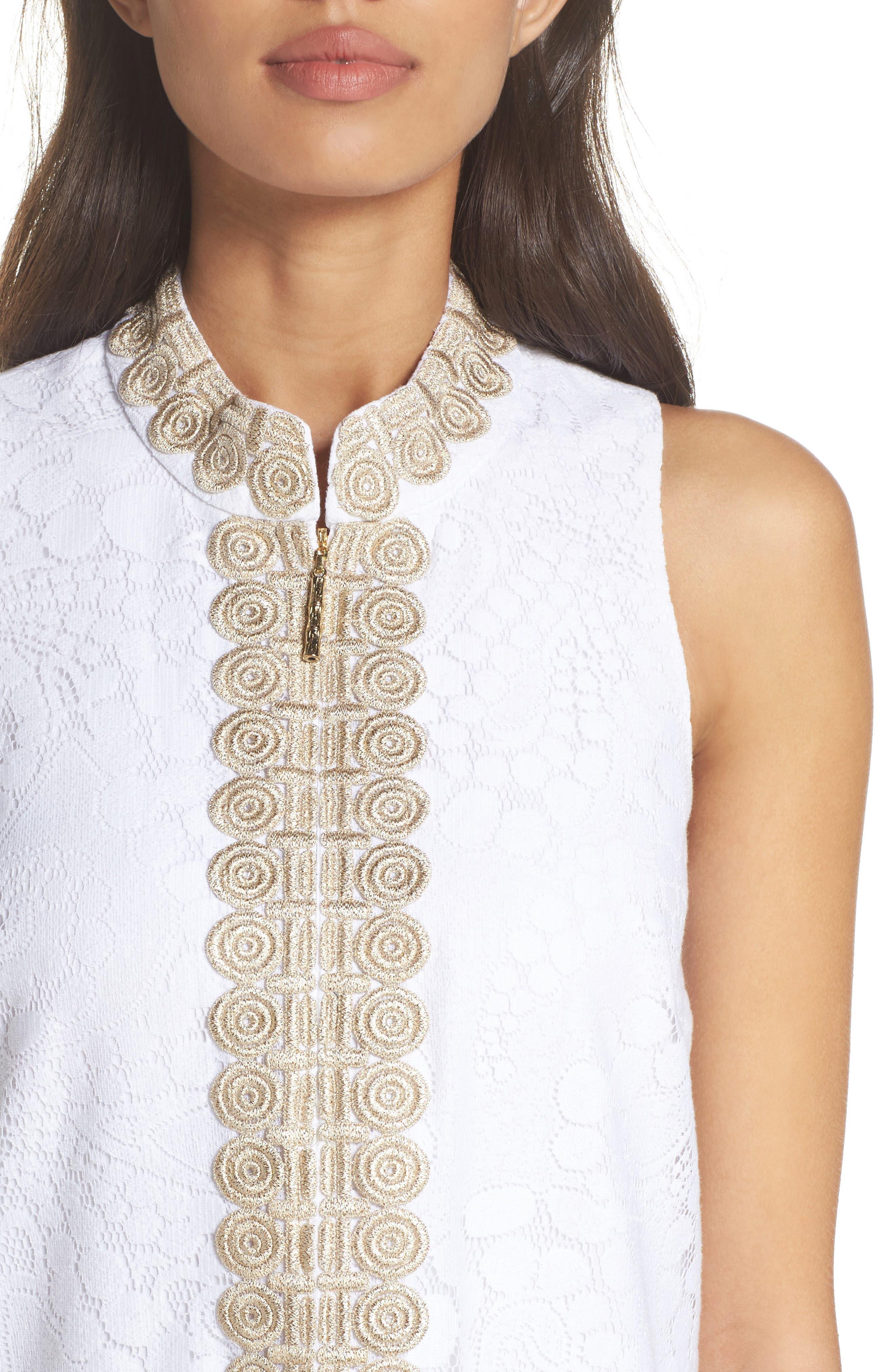 Jane Lace Shift Dress,                             Alternate thumbnail 4, color,                             Resort White Mocean Lace