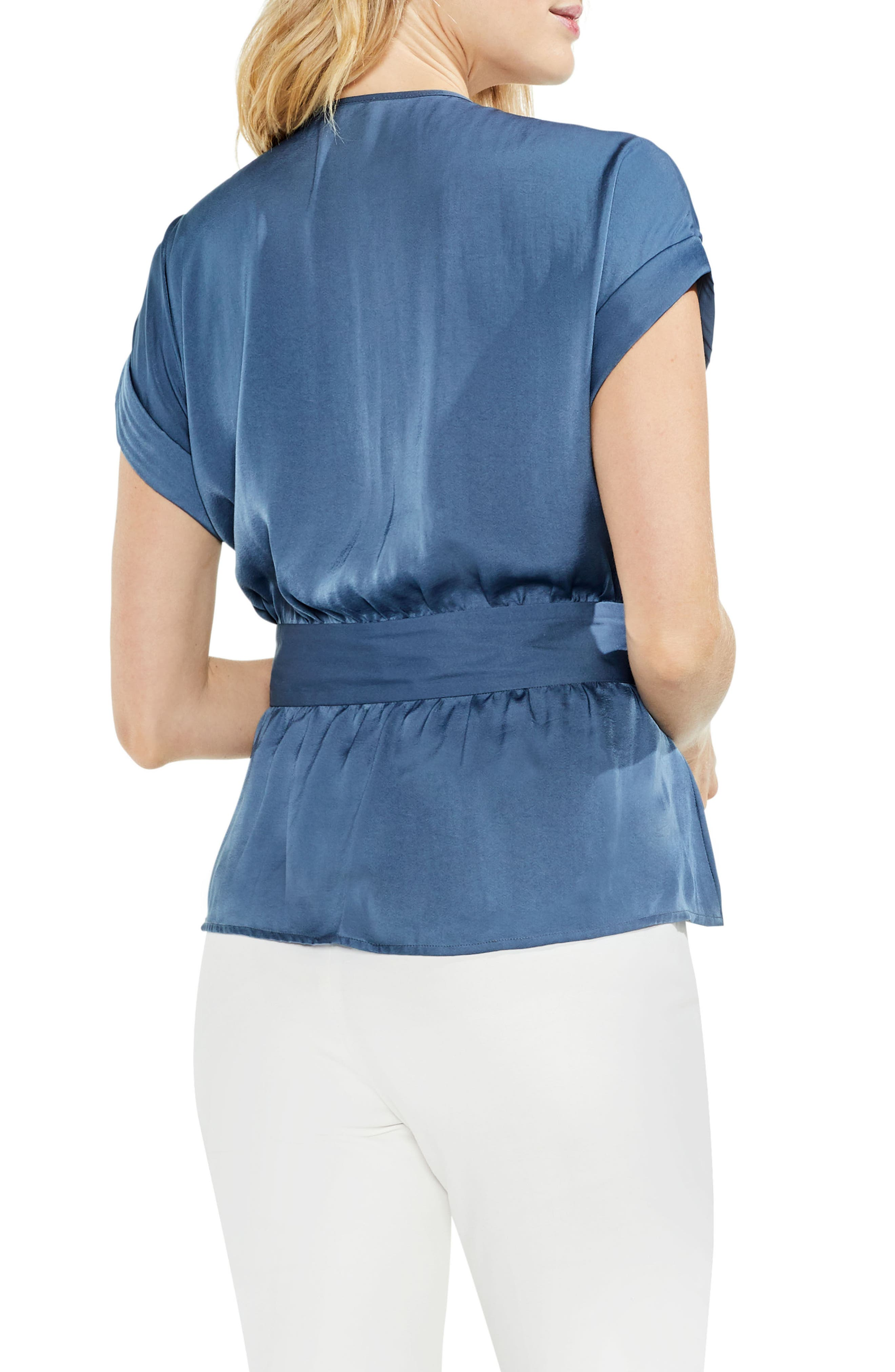 Hammered Satin Belted Blouse,                             Alternate thumbnail 2, color,                             China Blue