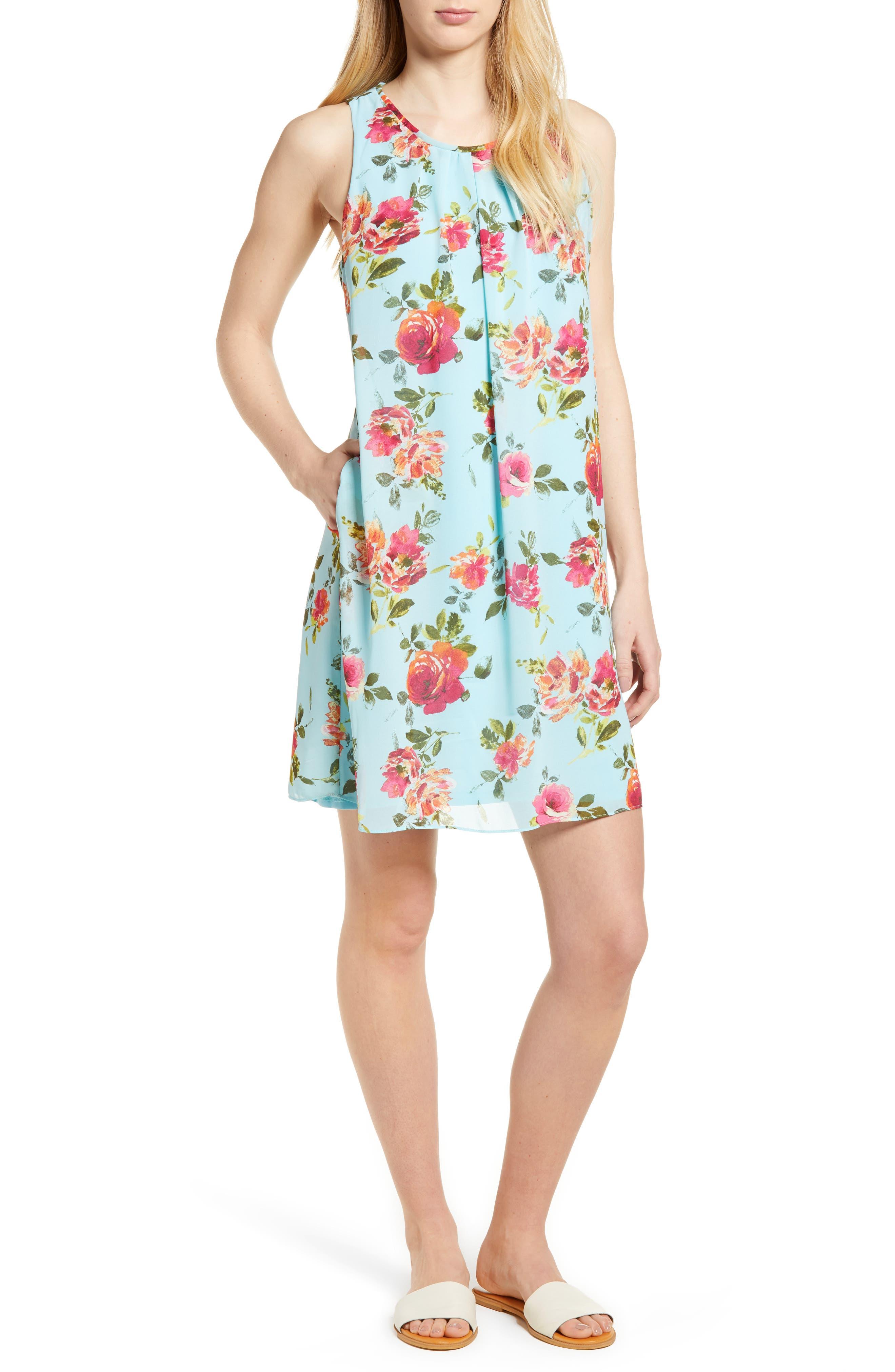 Sela Shift Floral Dress,                             Main thumbnail 1, color,                             Sky Blue