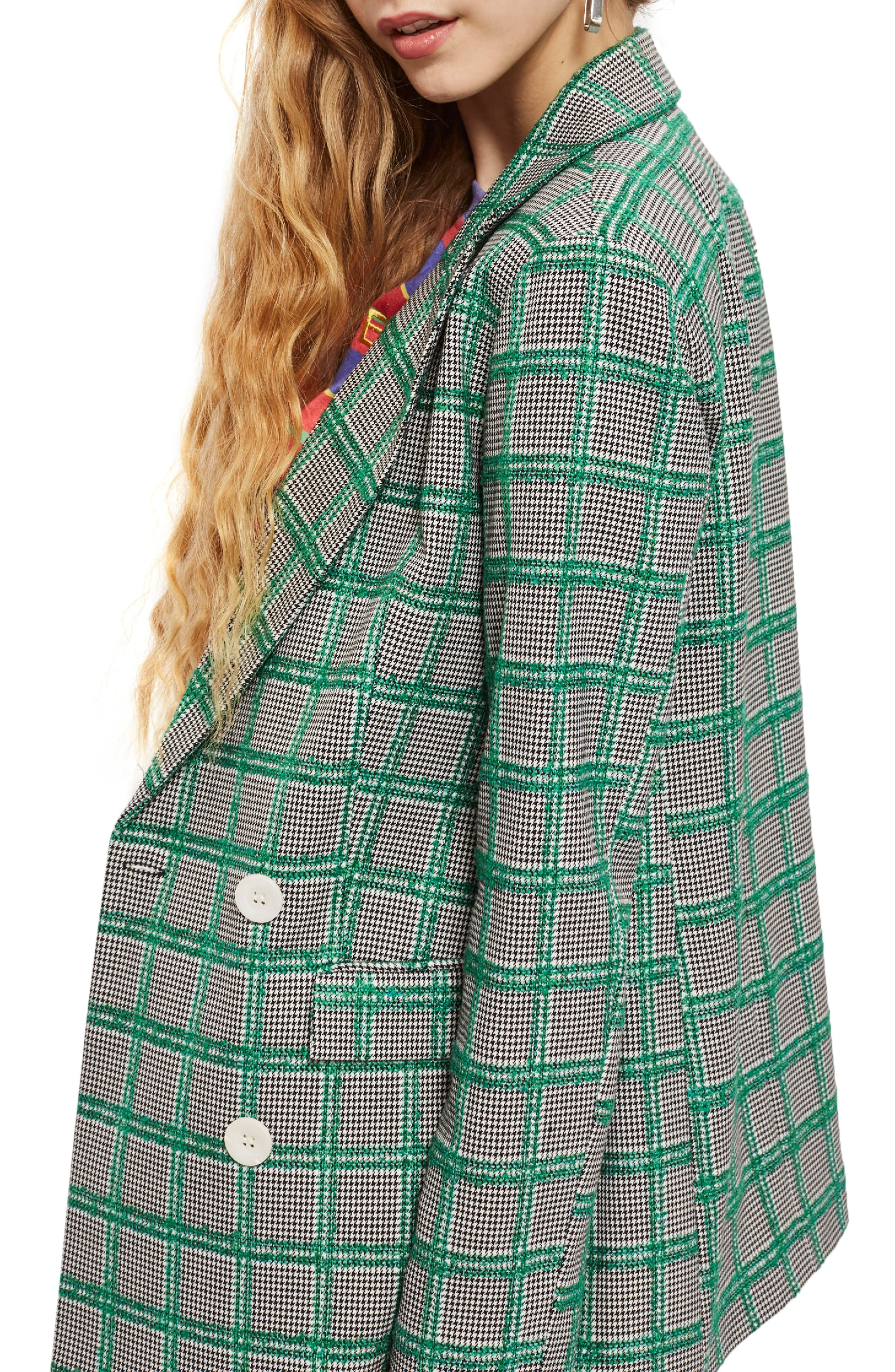 Double Breasted Windowpane Plaid Jacket,                             Alternate thumbnail 3, color,                             Green Multi