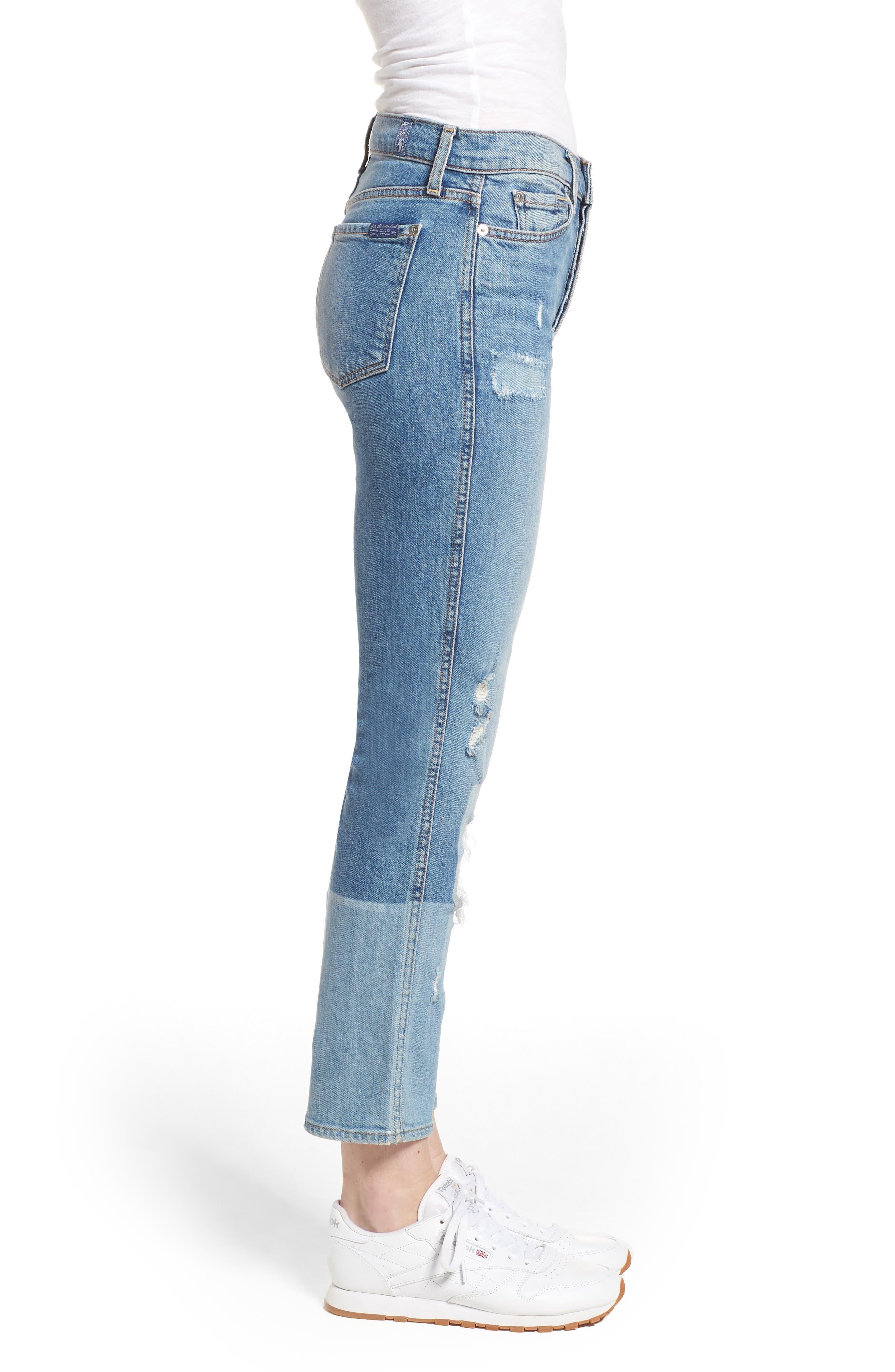 Edie High Waist Crop Straight Leg Jeans,                             Alternate thumbnail 3, color,                             Laser Denim W/ Patches