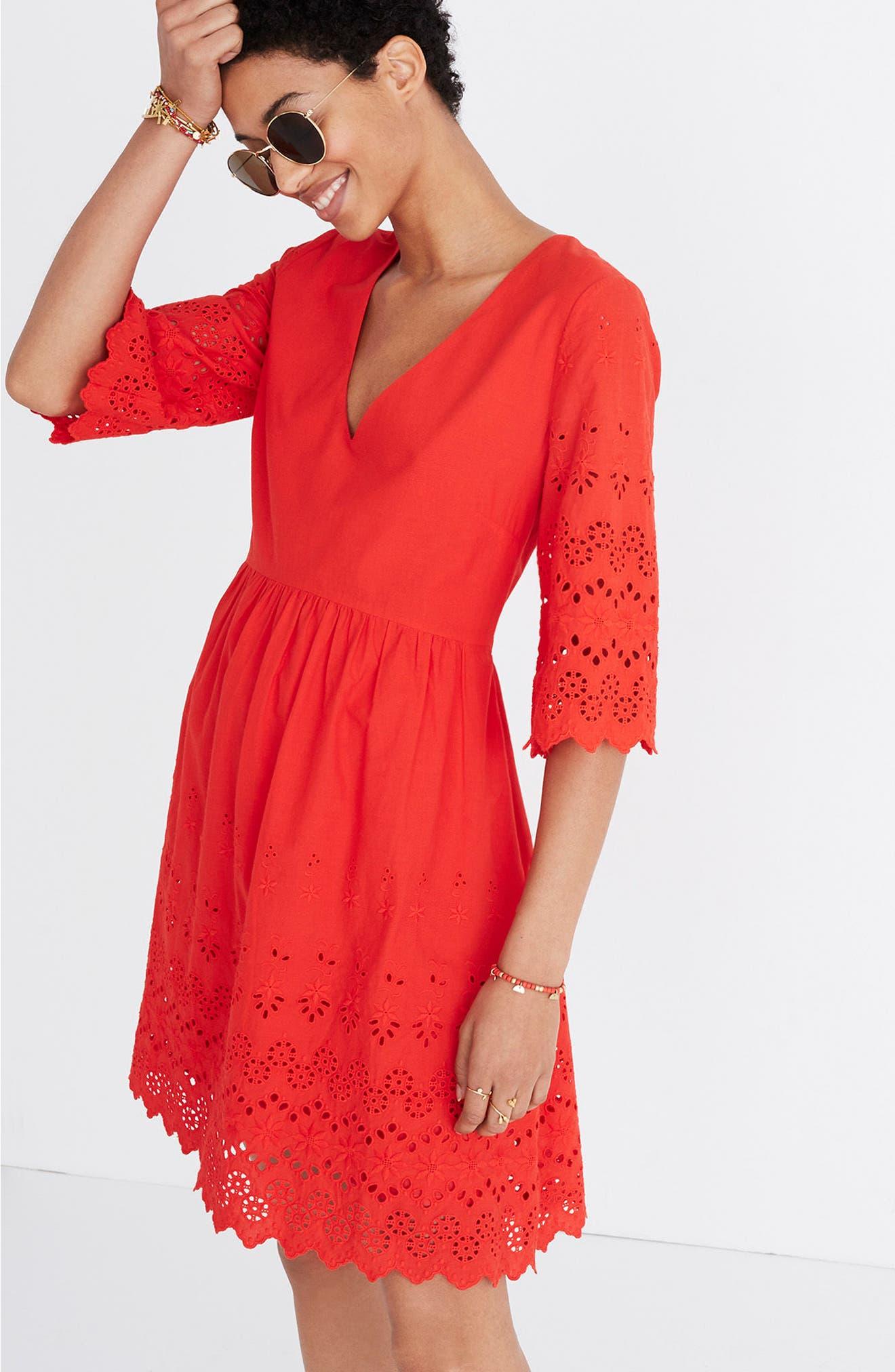 Eyelet Lattice Dress,                             Alternate thumbnail 2, color,                             Bright Poppy