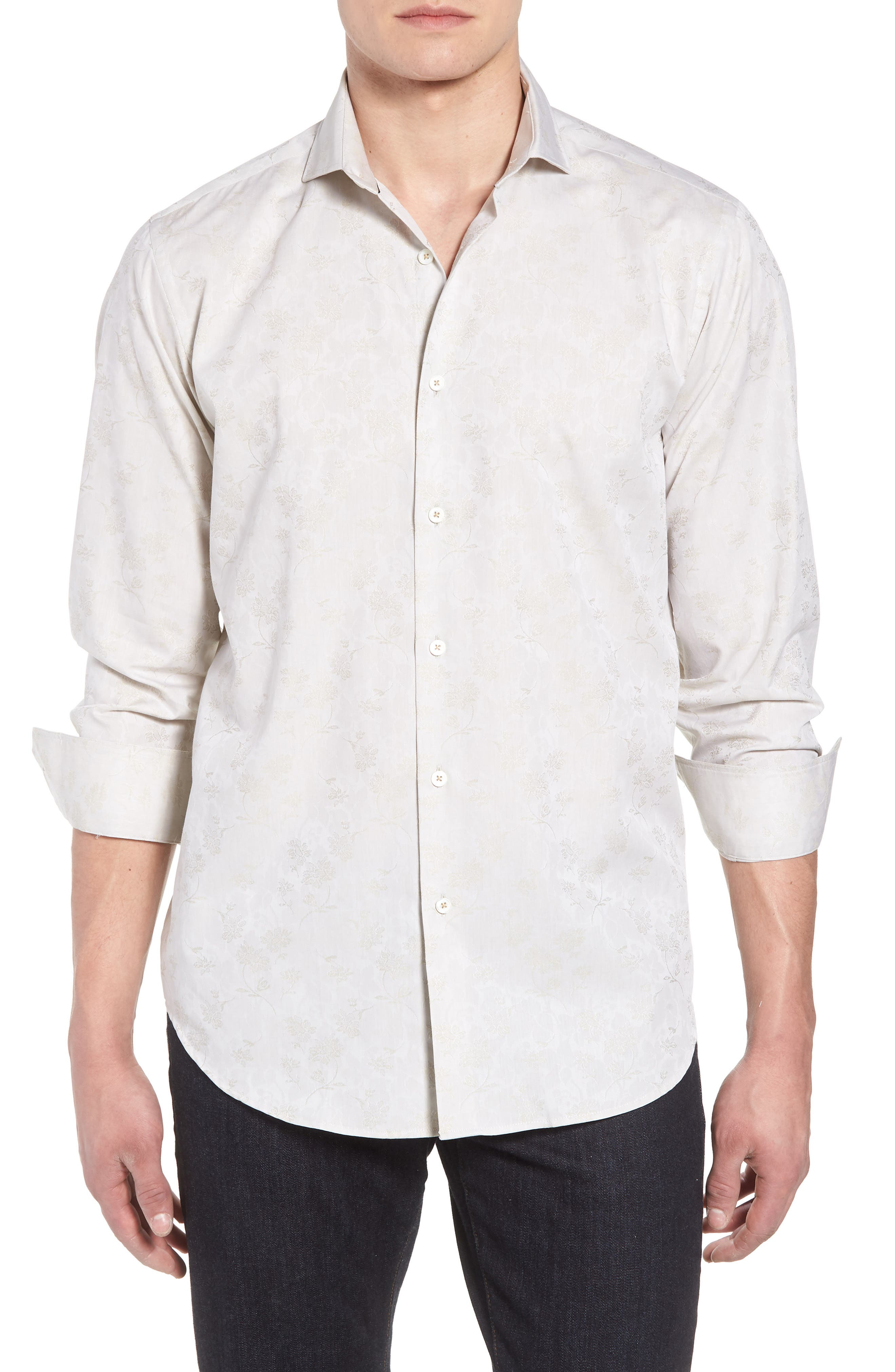 Classic Fit Woven Sport Shirt,                         Main,                         color, Sand