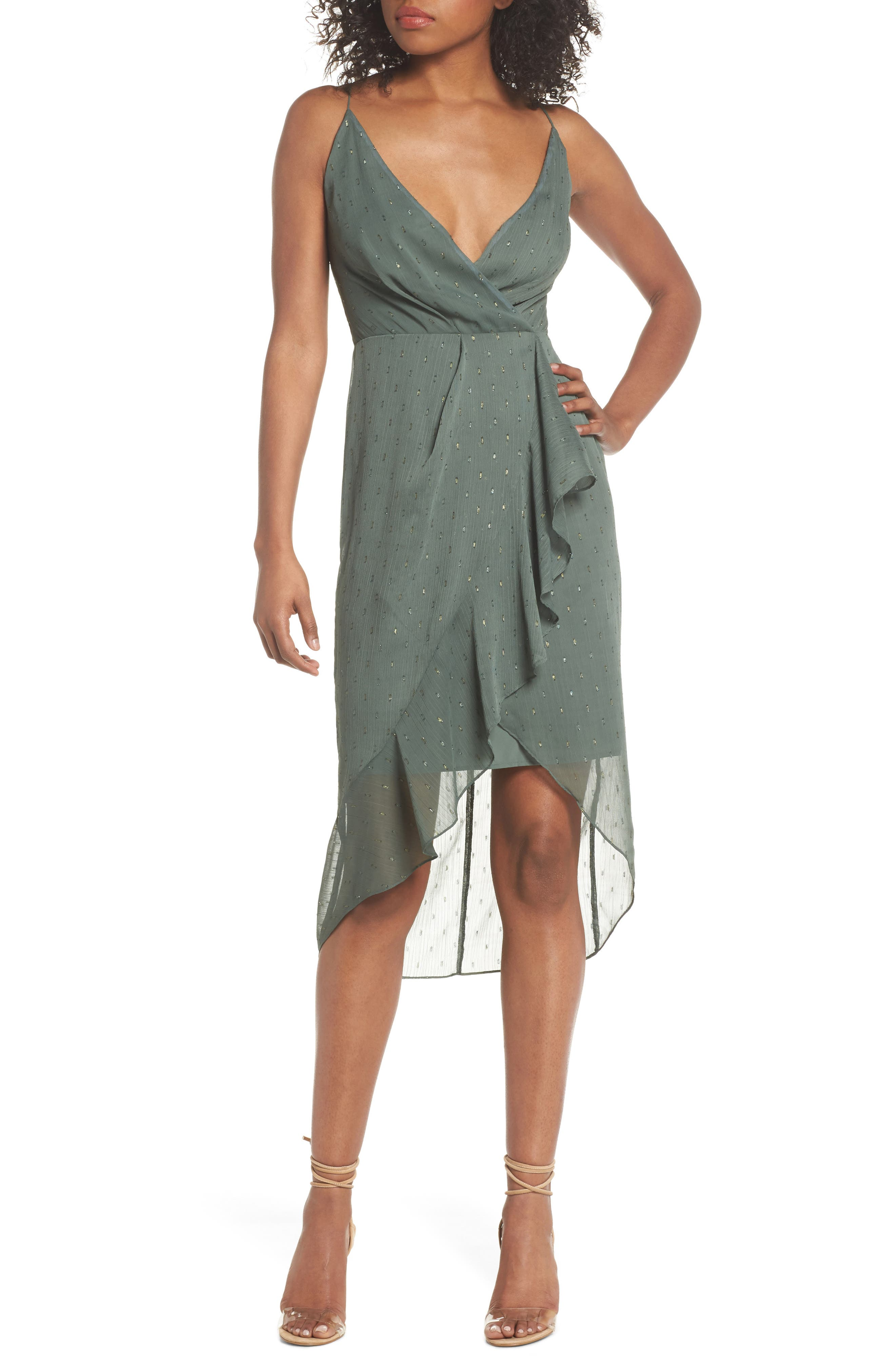 Wind In The Willows Drape Dress,                             Main thumbnail 1, color,                             Pine Green