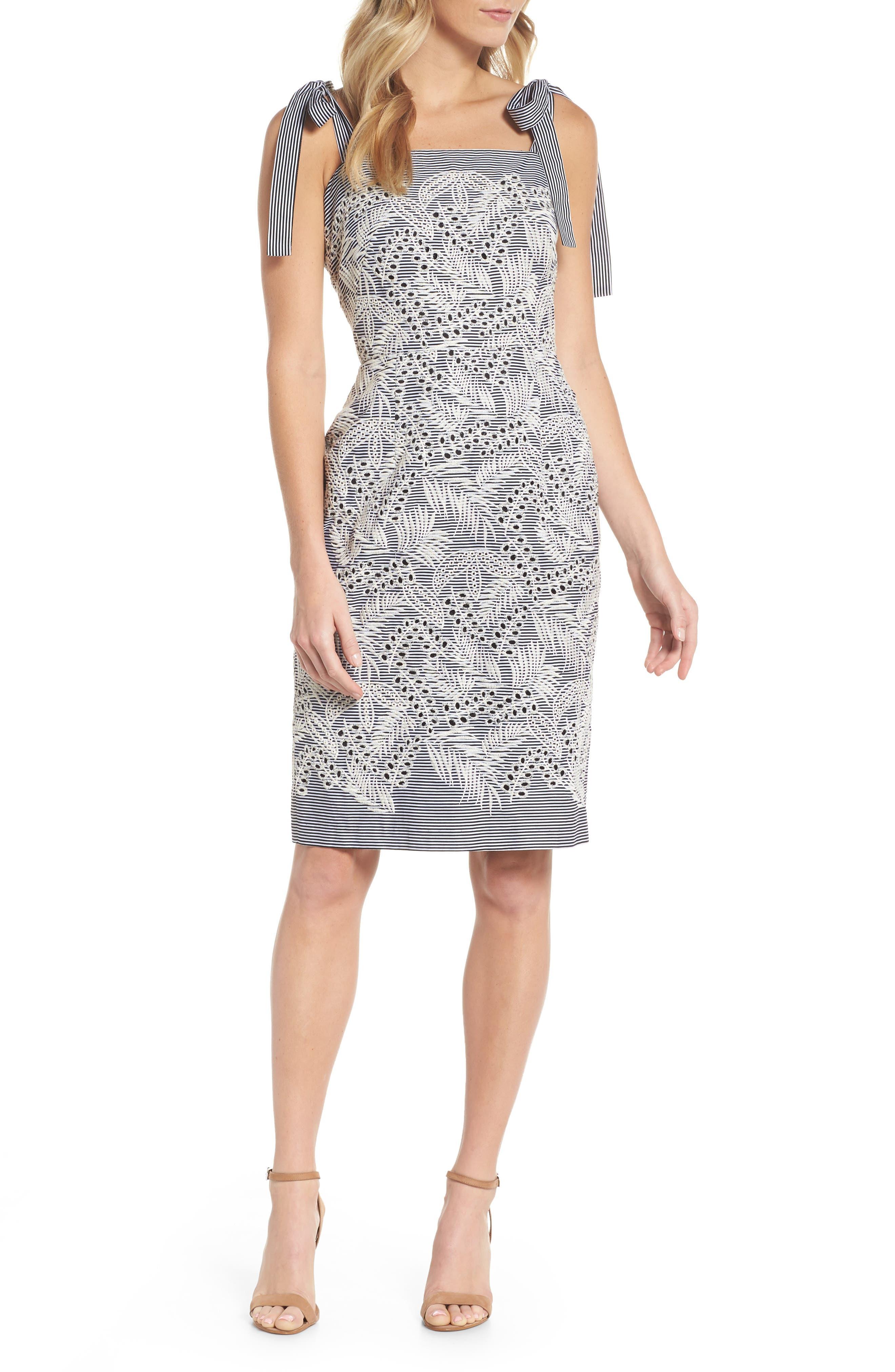 Tie Shoulder Sheath Dress,                         Main,                         color, Black/ Natural