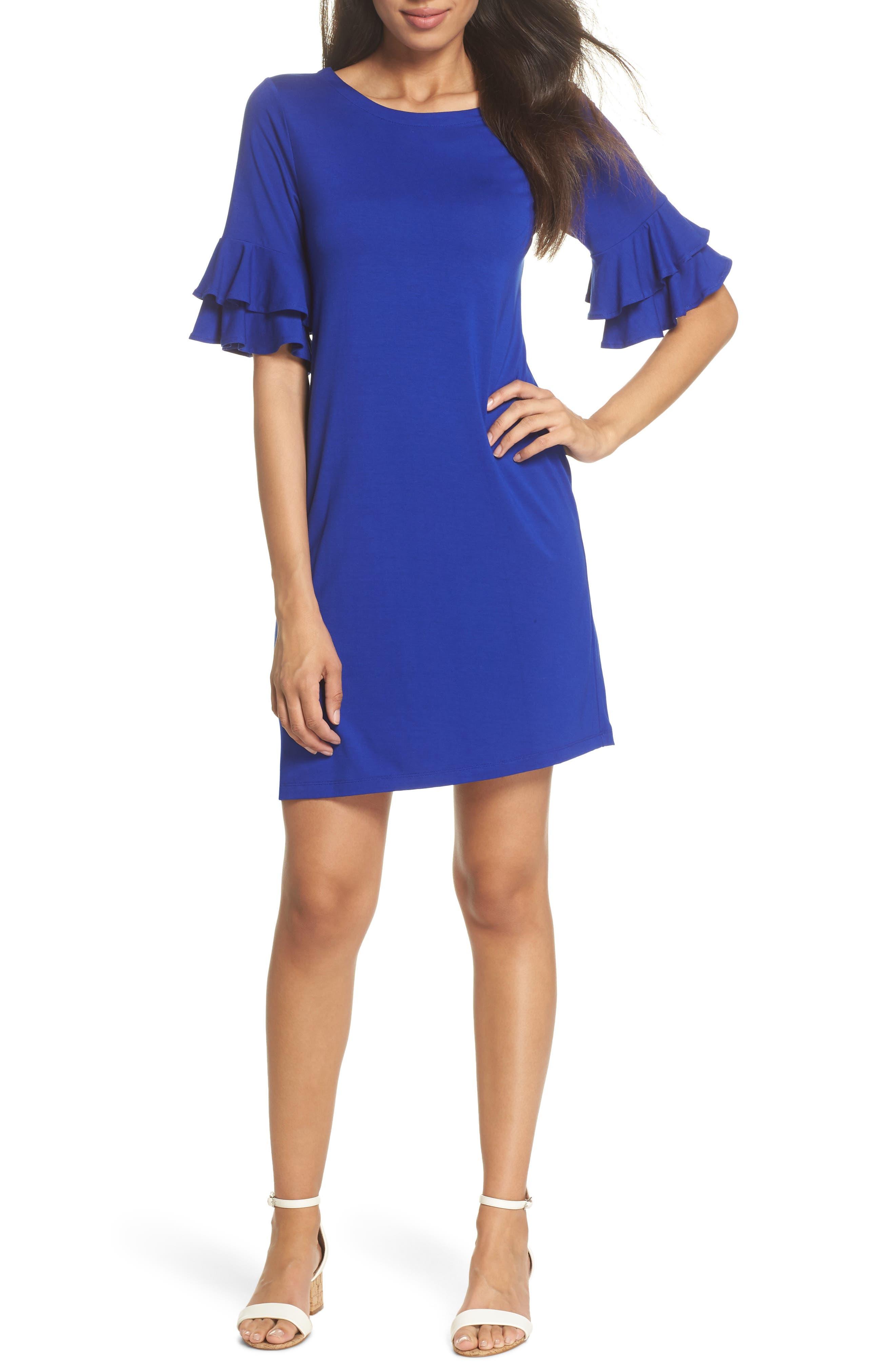 Lula Ruffle Sleeve Dress,                             Main thumbnail 1, color,                             Twilight Blue