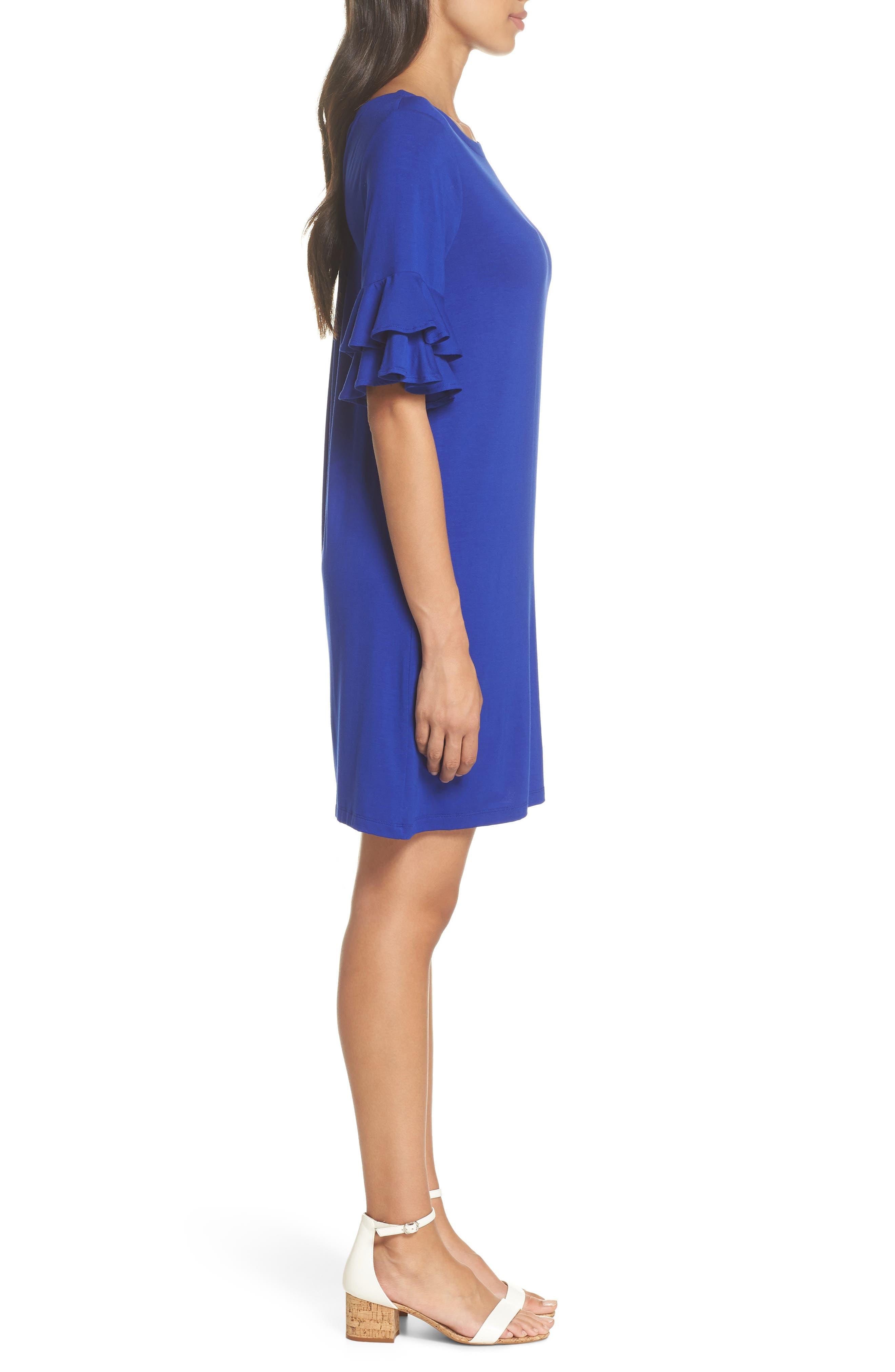 Lula Ruffle Sleeve Dress,                             Alternate thumbnail 3, color,                             Twilight Blue