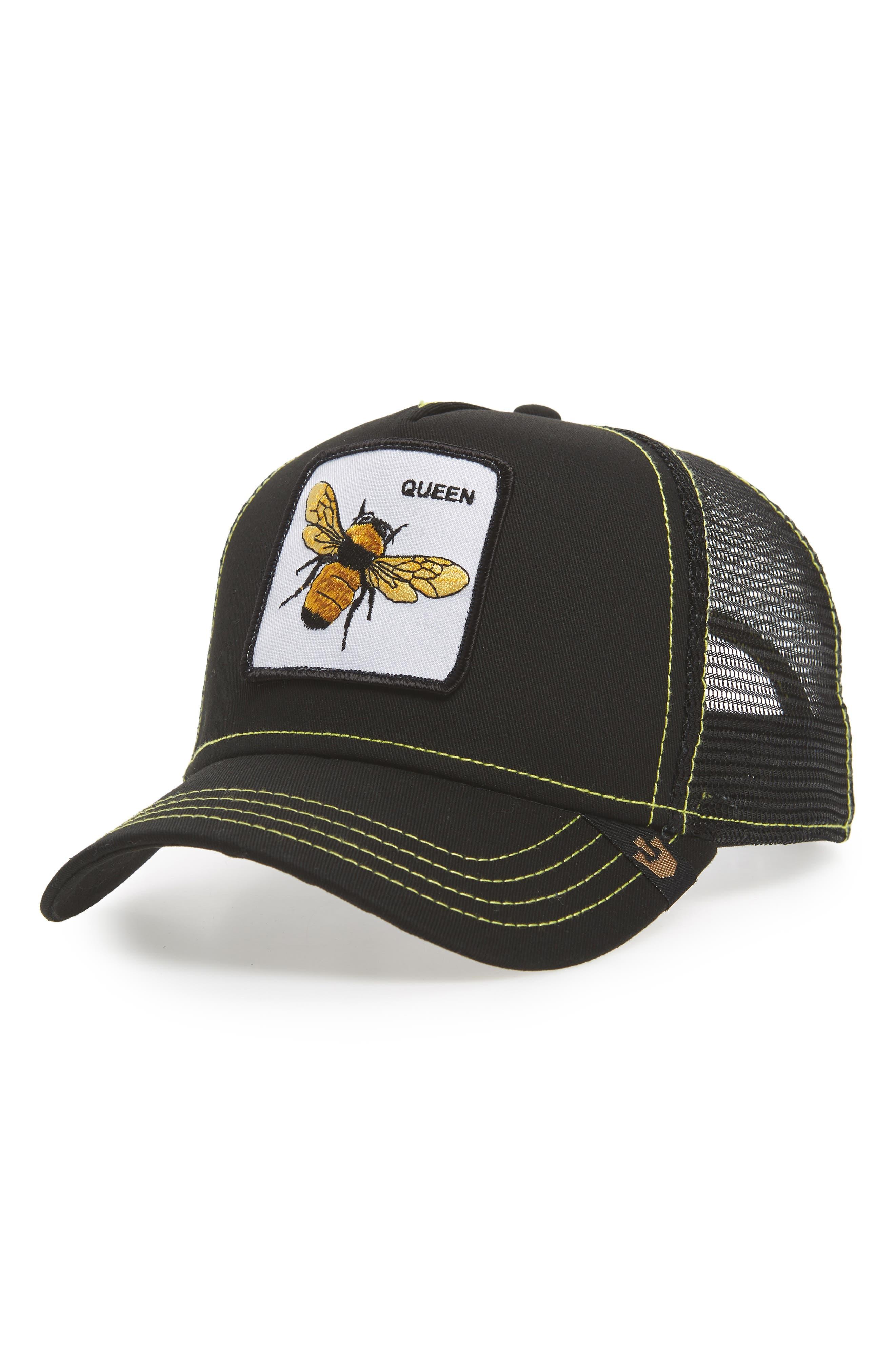 Queen Bee Trucker Cap,                             Main thumbnail 1, color,                             Black