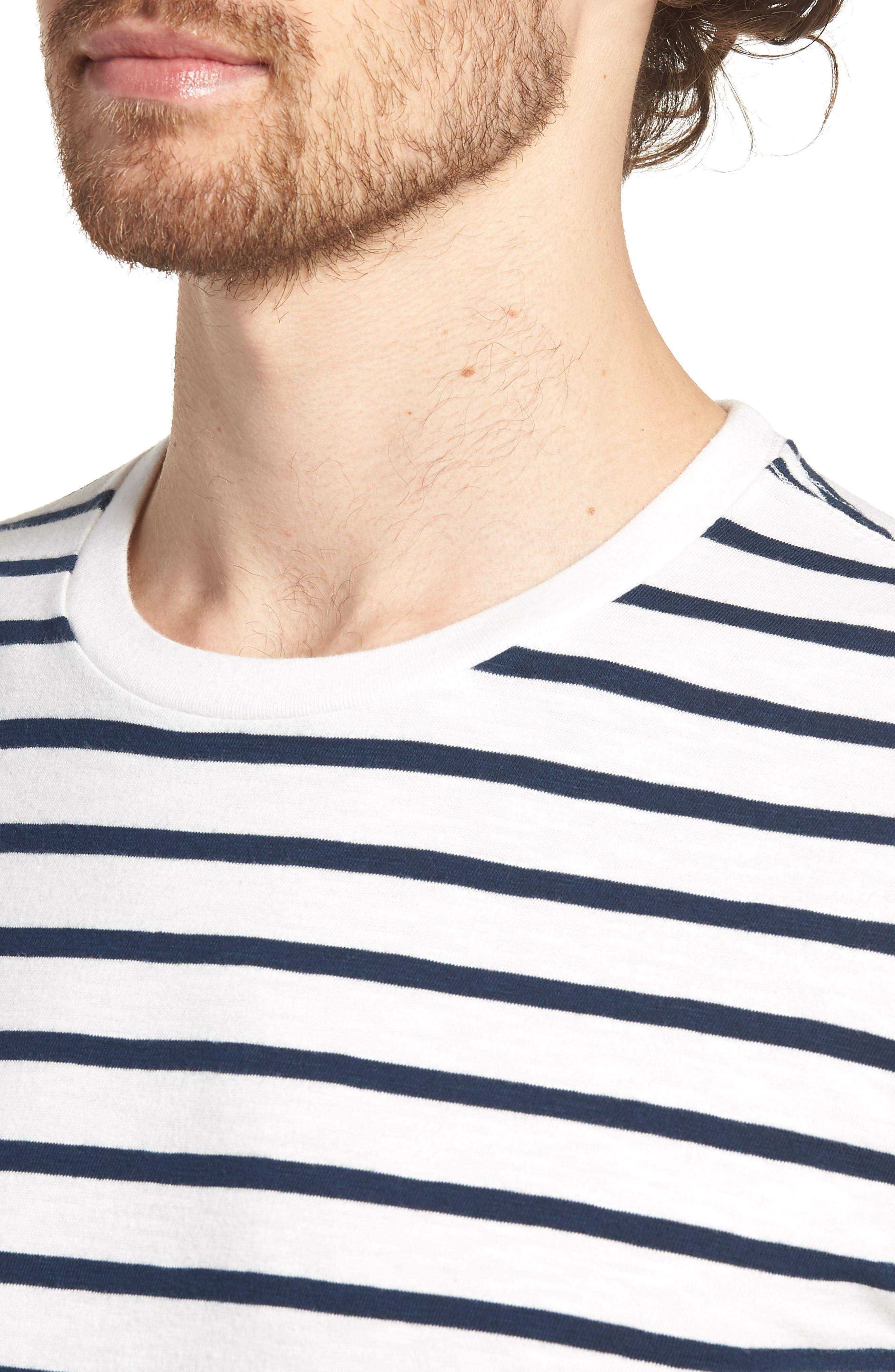 Deck Stripe Slub Cotton T-Shirt,                             Alternate thumbnail 4, color,                             Mountain White