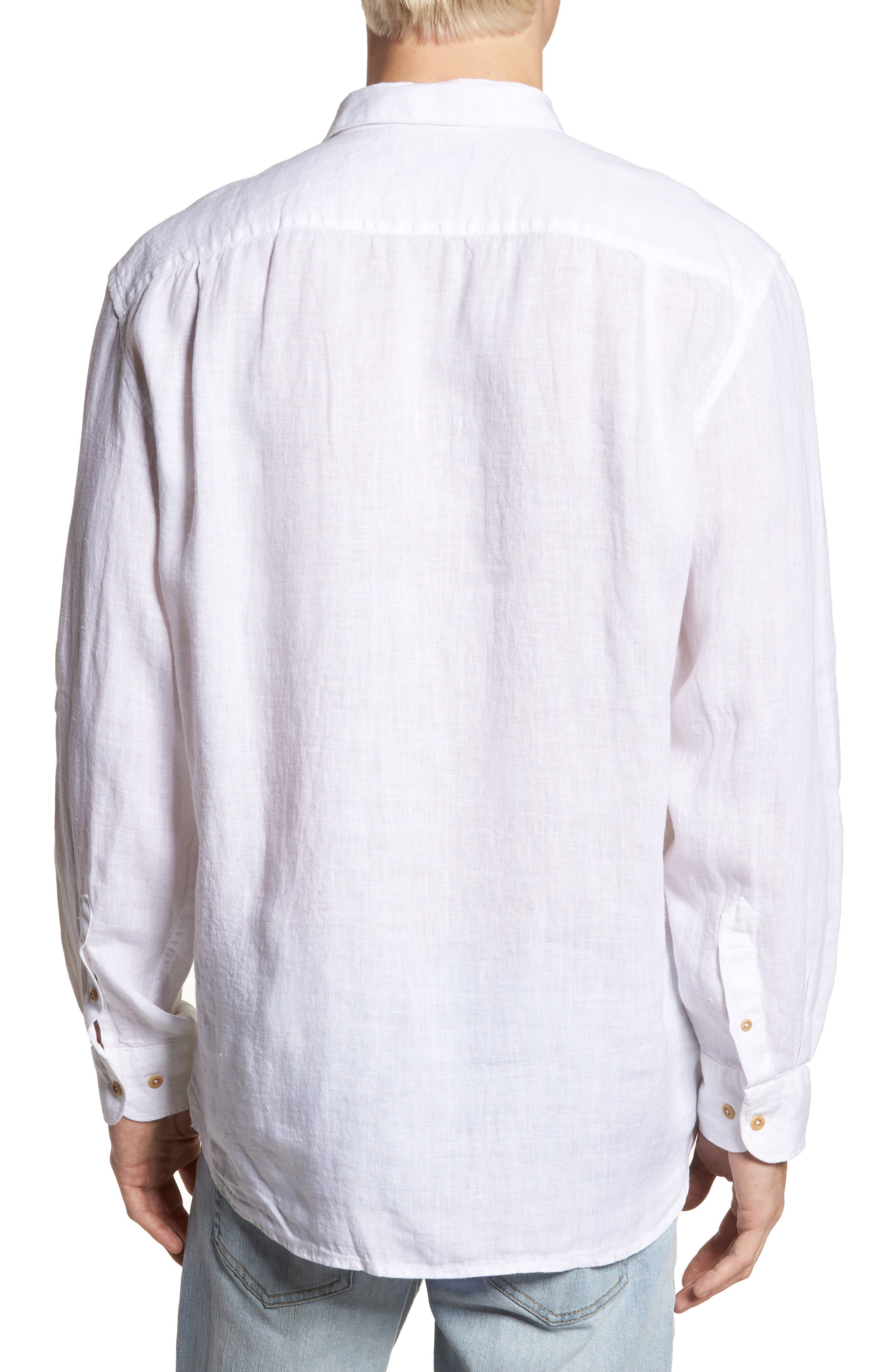 Relaxed Fit Solid Linen Sport Shirt,                             Alternate thumbnail 2, color,                             White