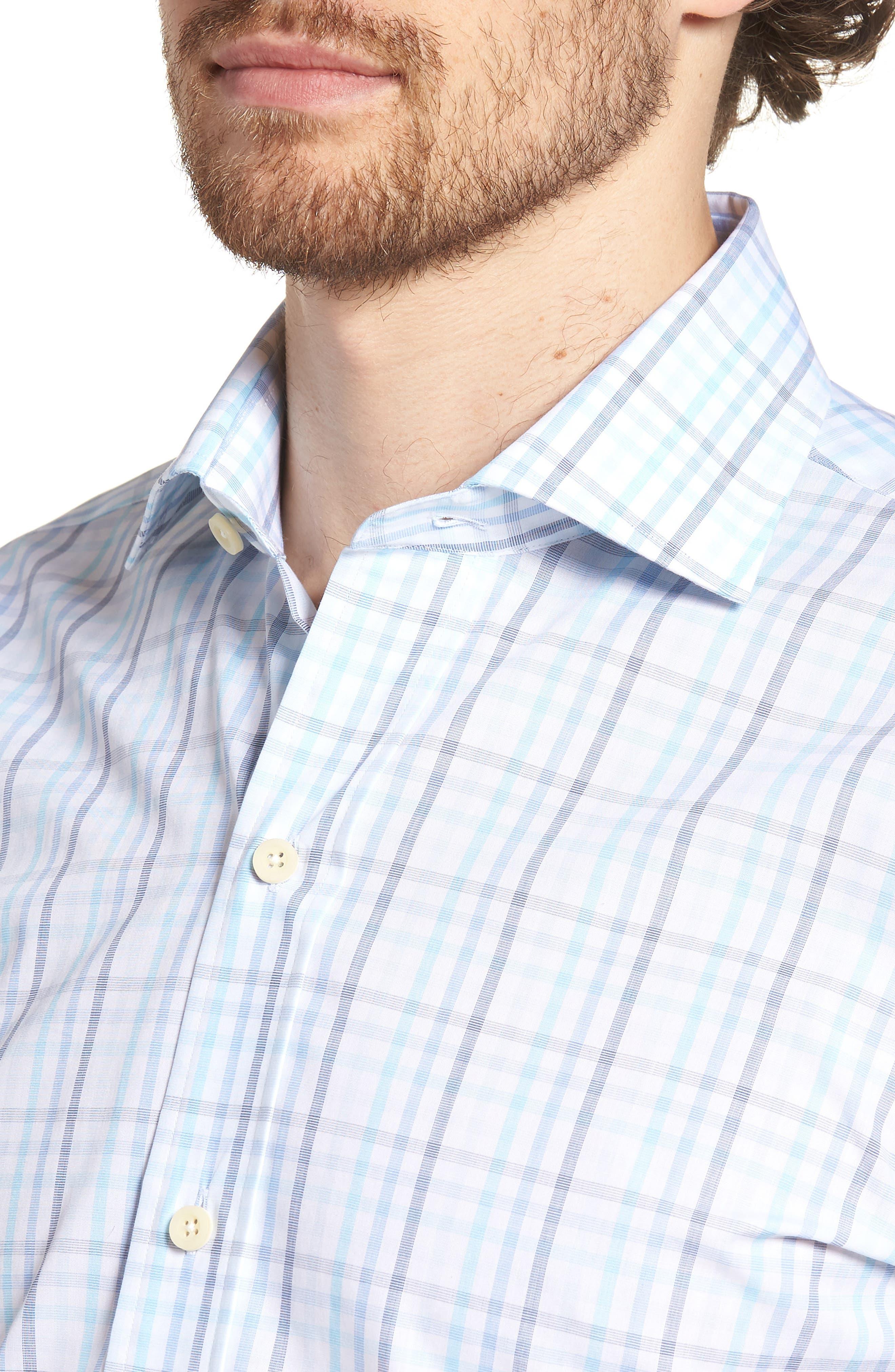 Pelton Slim Fit Check Dress Shirt,                             Alternate thumbnail 2, color,                             Turquoise/ Aqua