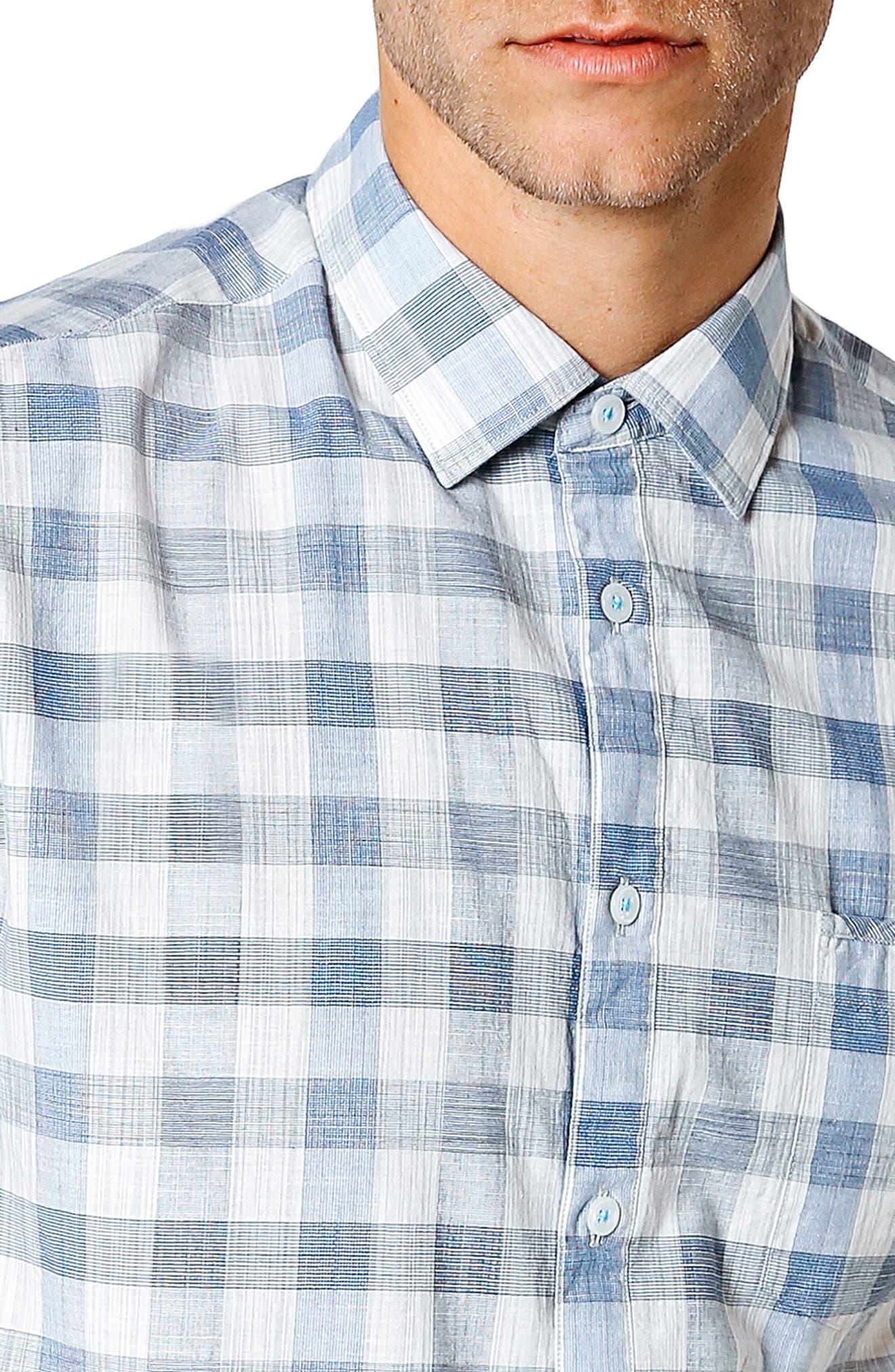 Trim Fit Check Sport Shirt,                             Alternate thumbnail 4, color,                             Blue