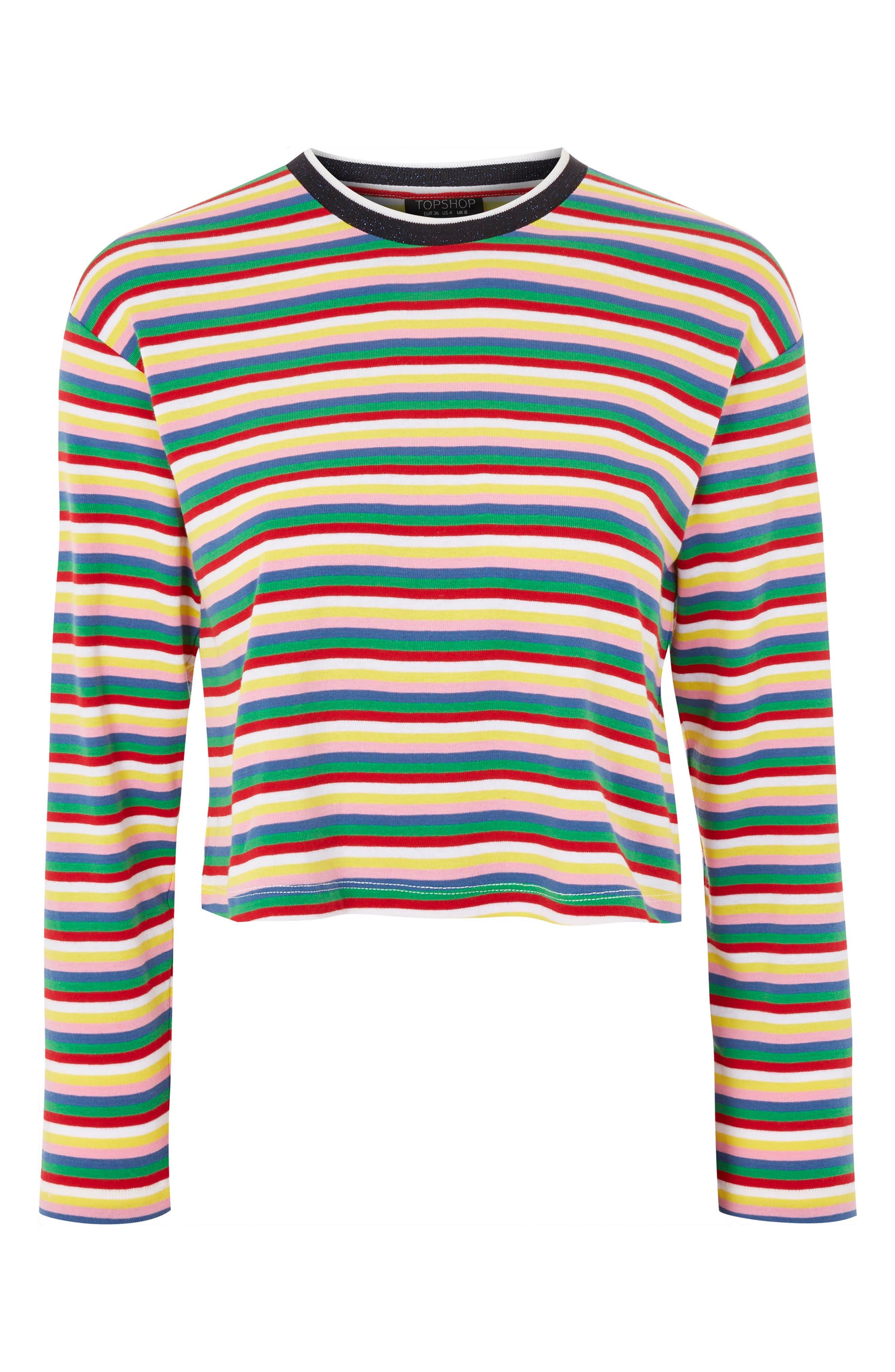 Rainbow Stripe Cotton Pullover,                         Main,                         color, Blue Multi