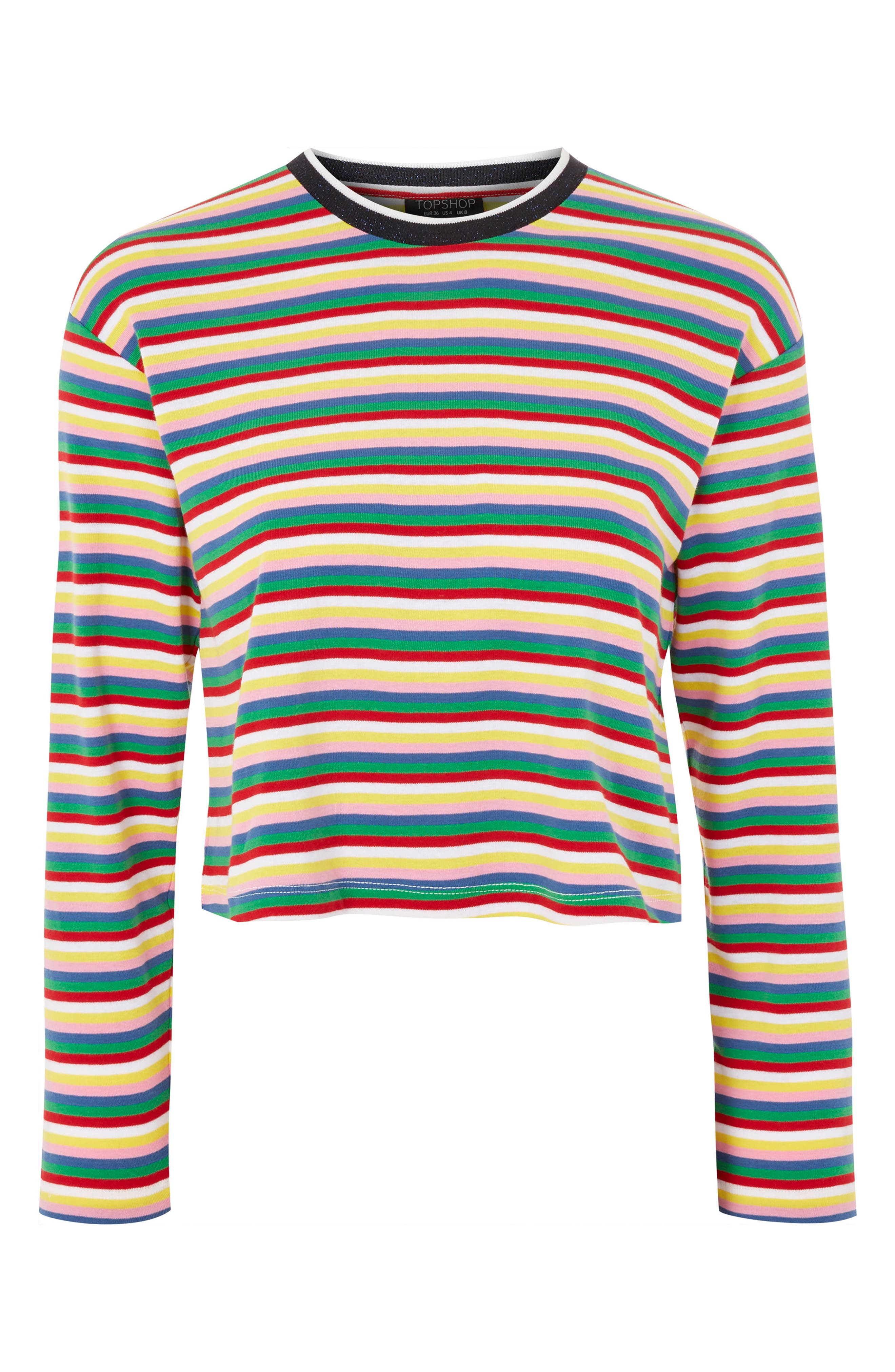 Topshop Rainbow Stripe Cotton Pullover