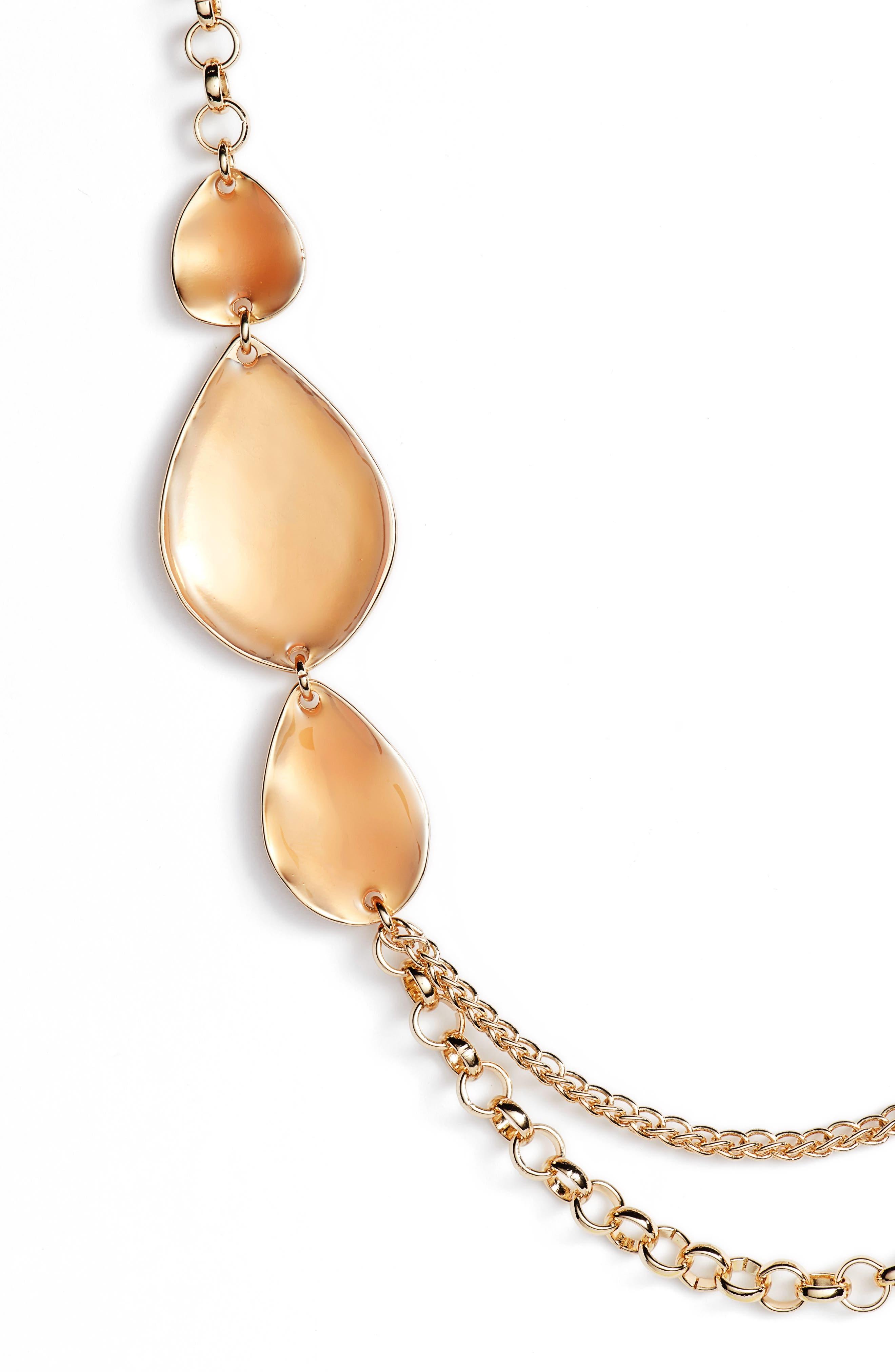 Painted Petal Draped Long Necklace,                             Alternate thumbnail 2, color,                             Blush- Gold
