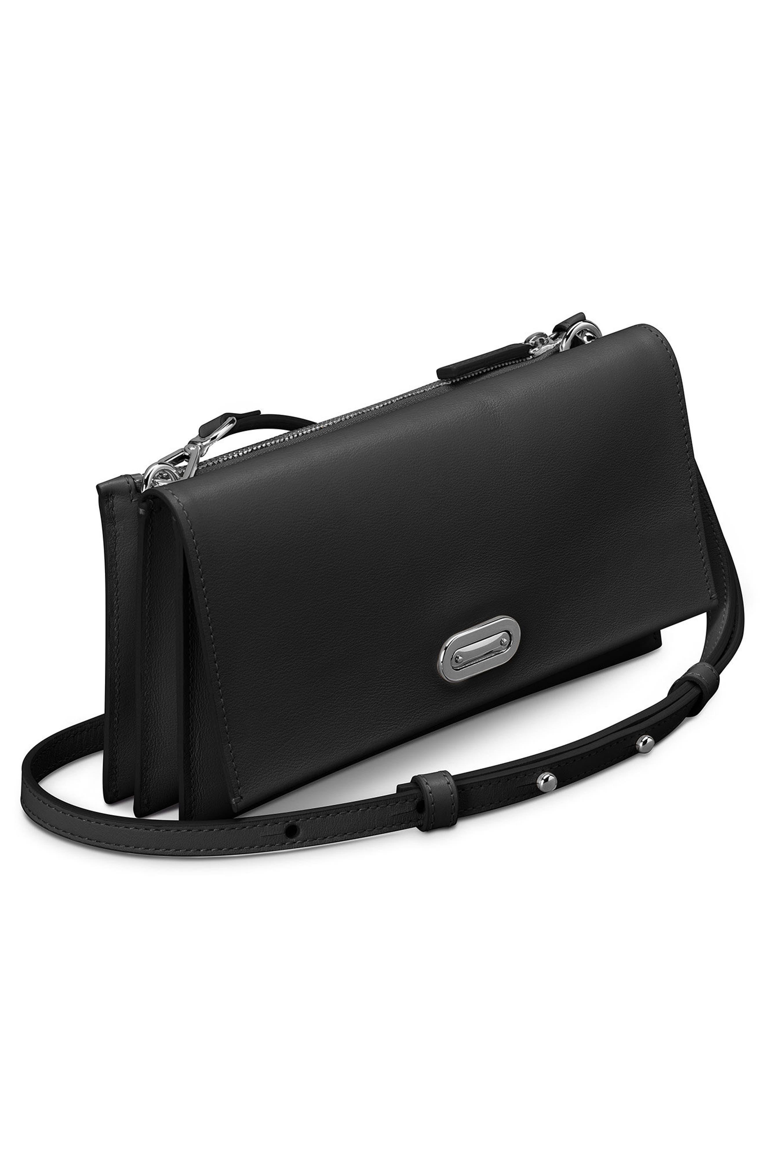 Birdy Leather Crossbody Bag,                             Alternate thumbnail 4, color,                             Black