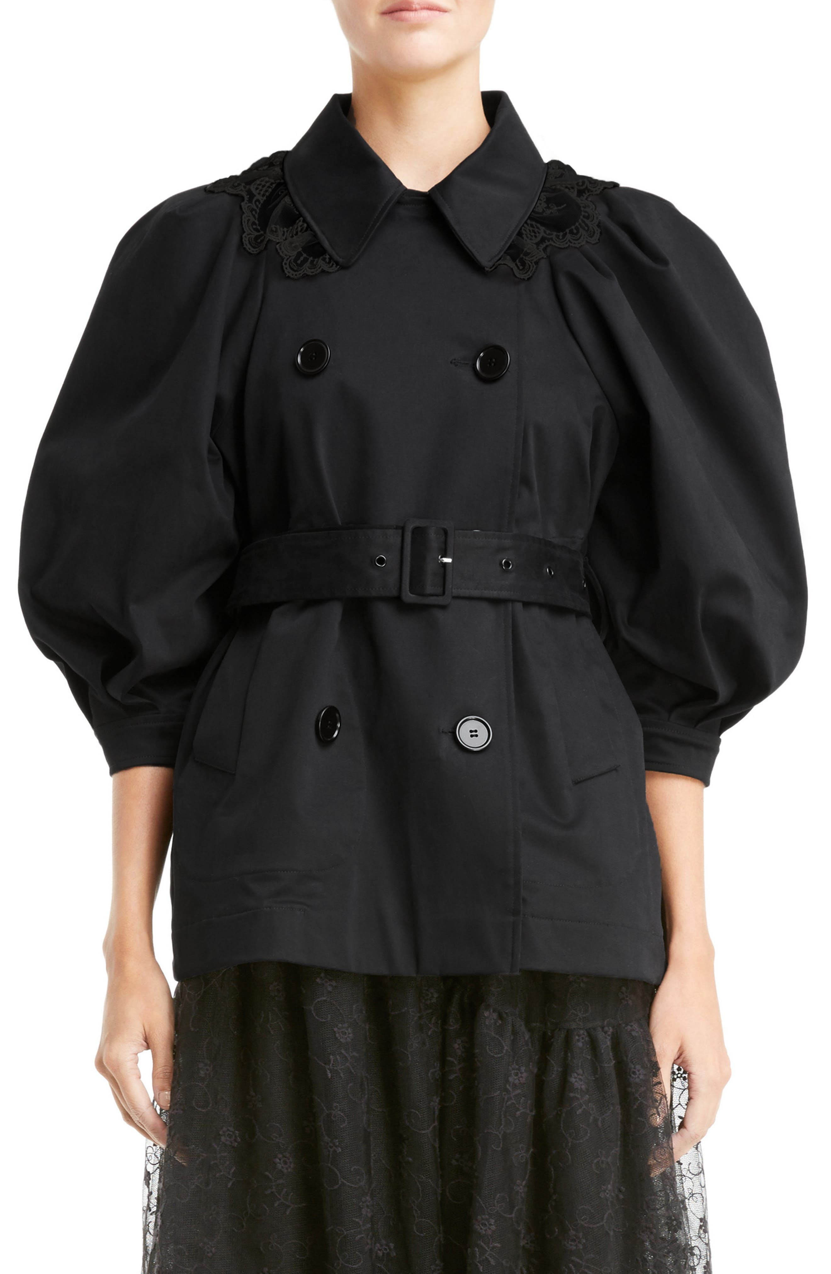 Lace Trim Pea Jacket,                         Main,                         color, Black Black