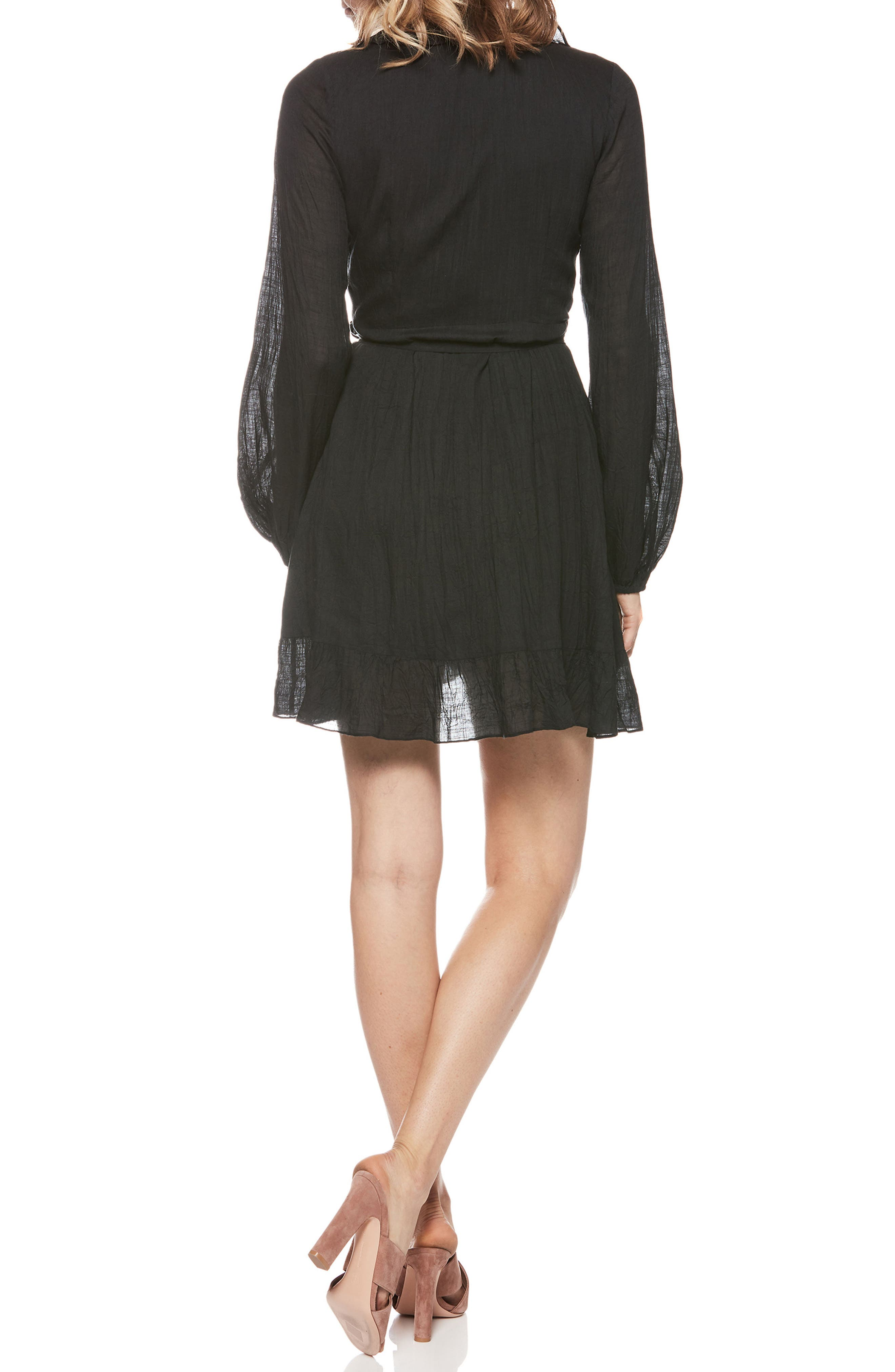 Shawna Ruffle Wrap Dress,                             Alternate thumbnail 2, color,                             Black