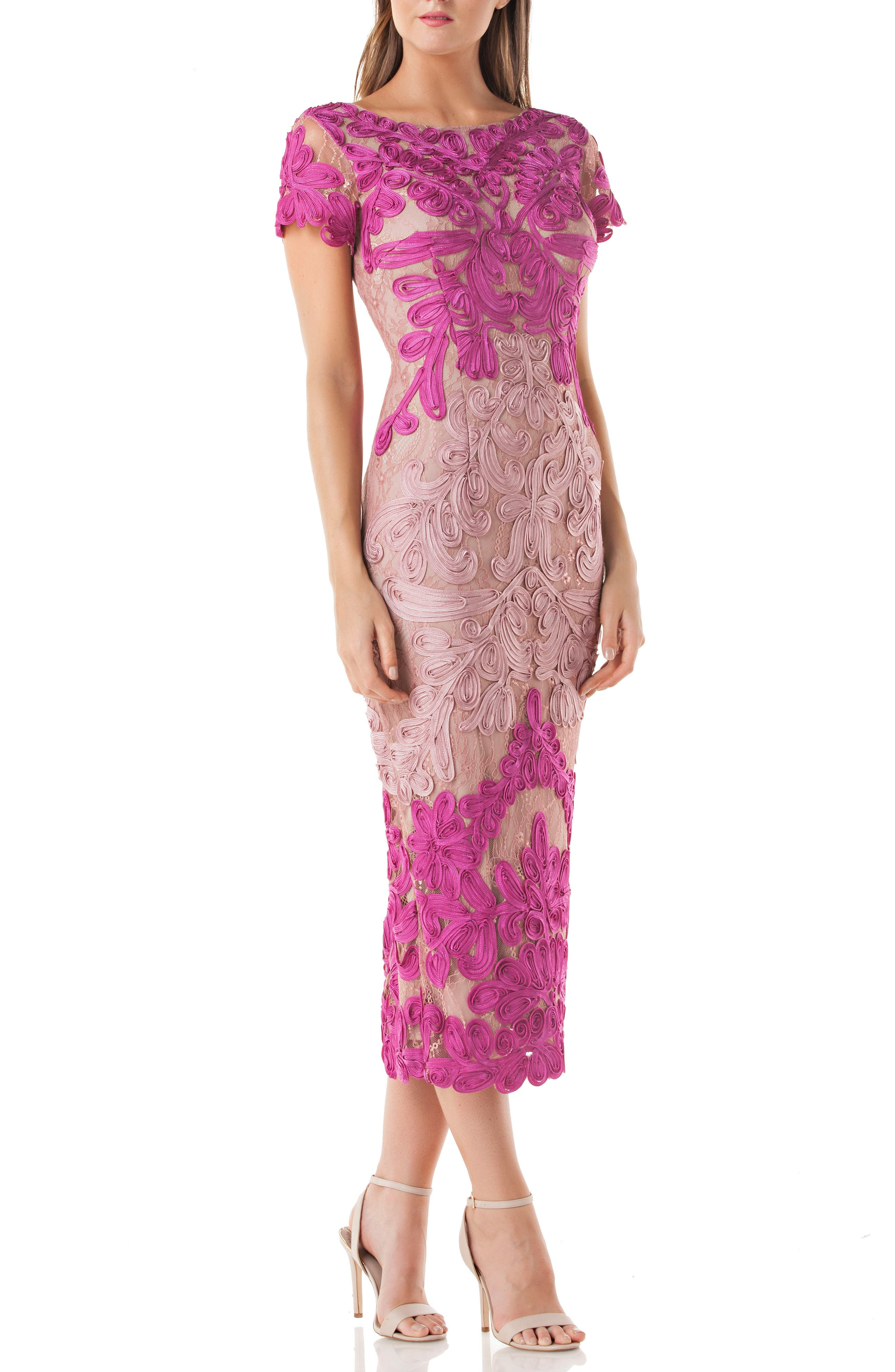 JS Collections Soutache Lace Midi Dress