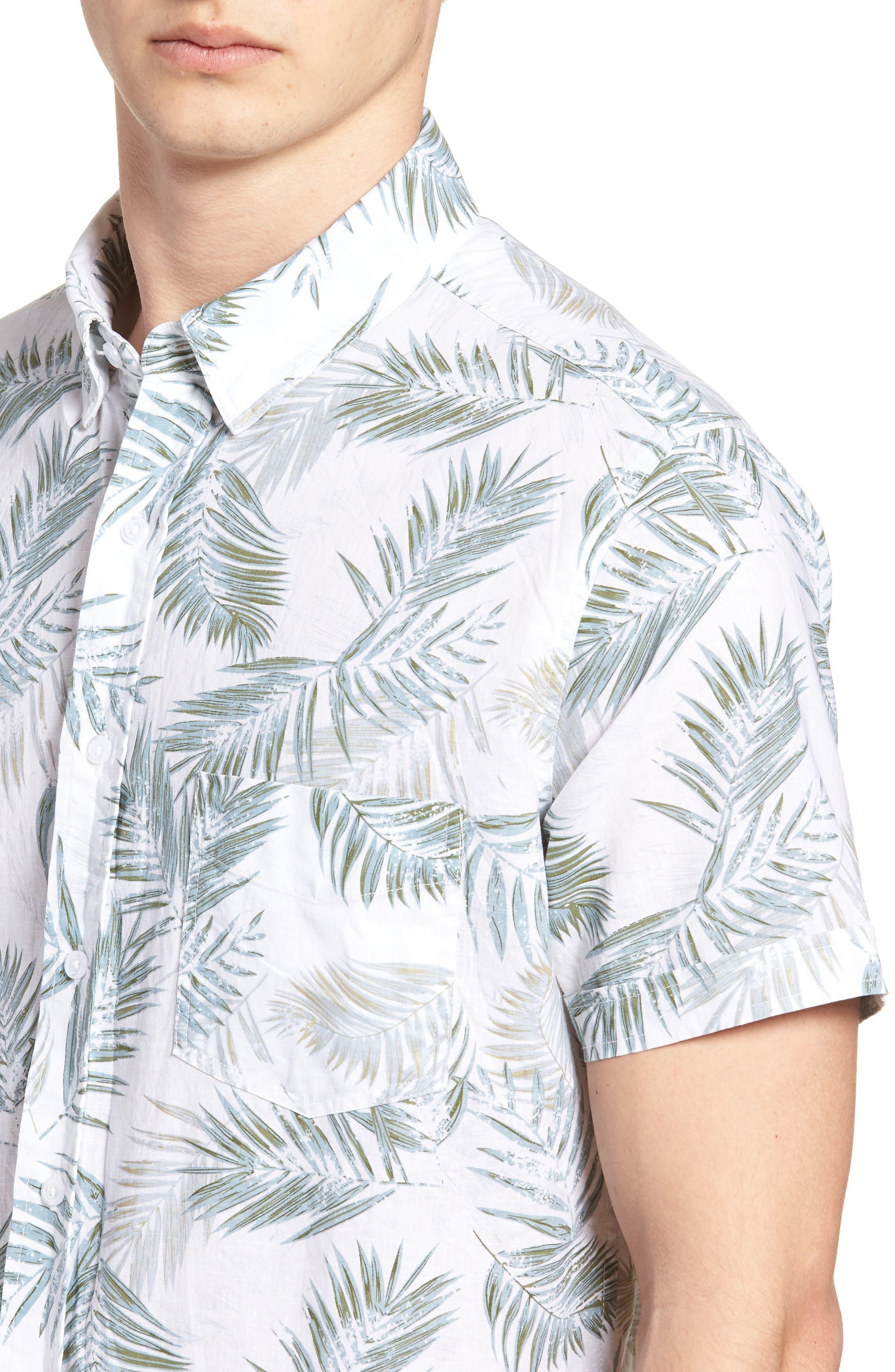 Carson Slim Fit Fern Print Sport Shirt,                             Alternate thumbnail 4, color,                             Fern Print