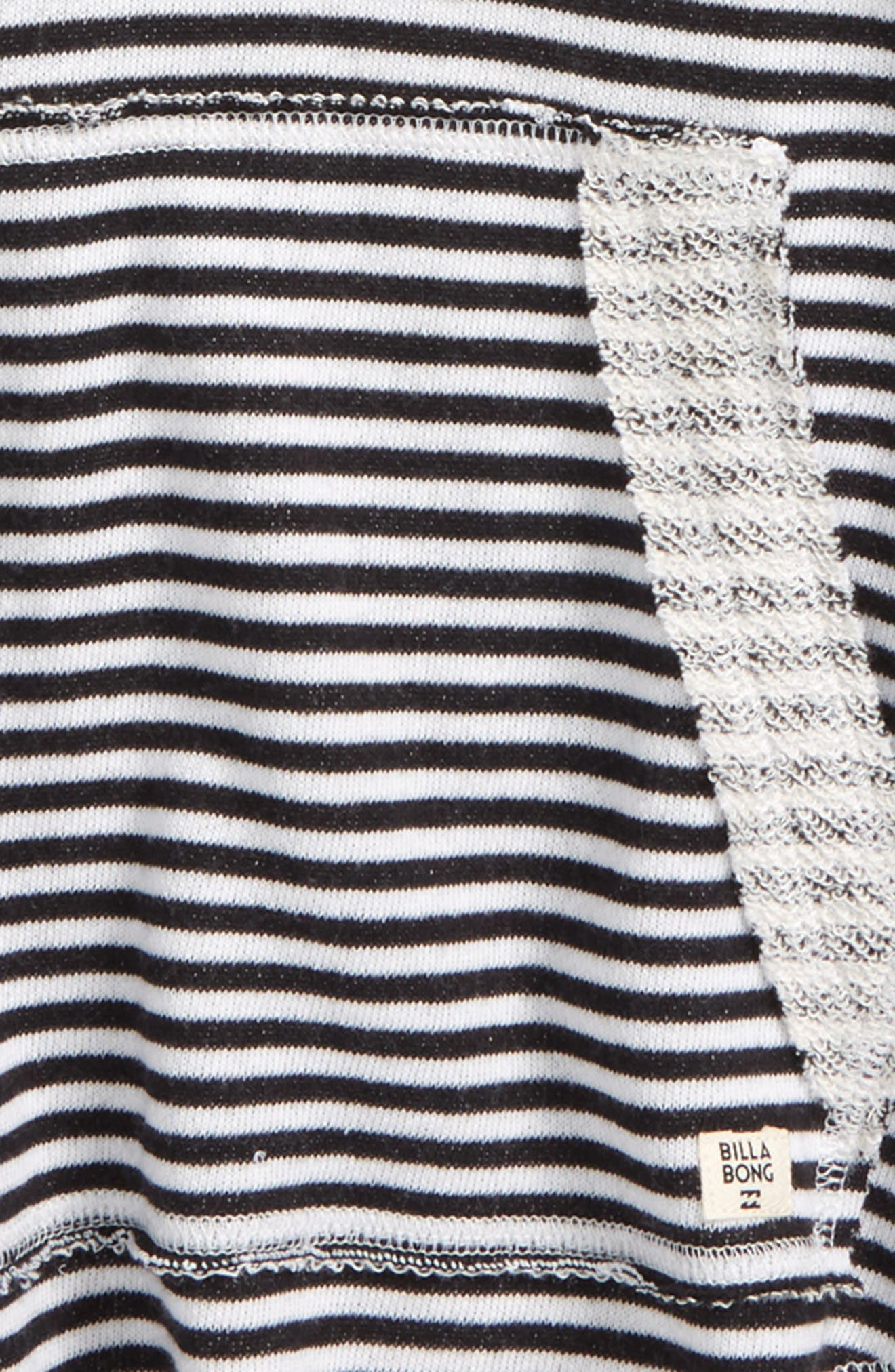 Laid Back Stripe Knit Hoodie,                             Alternate thumbnail 2, color,                             Black/ White