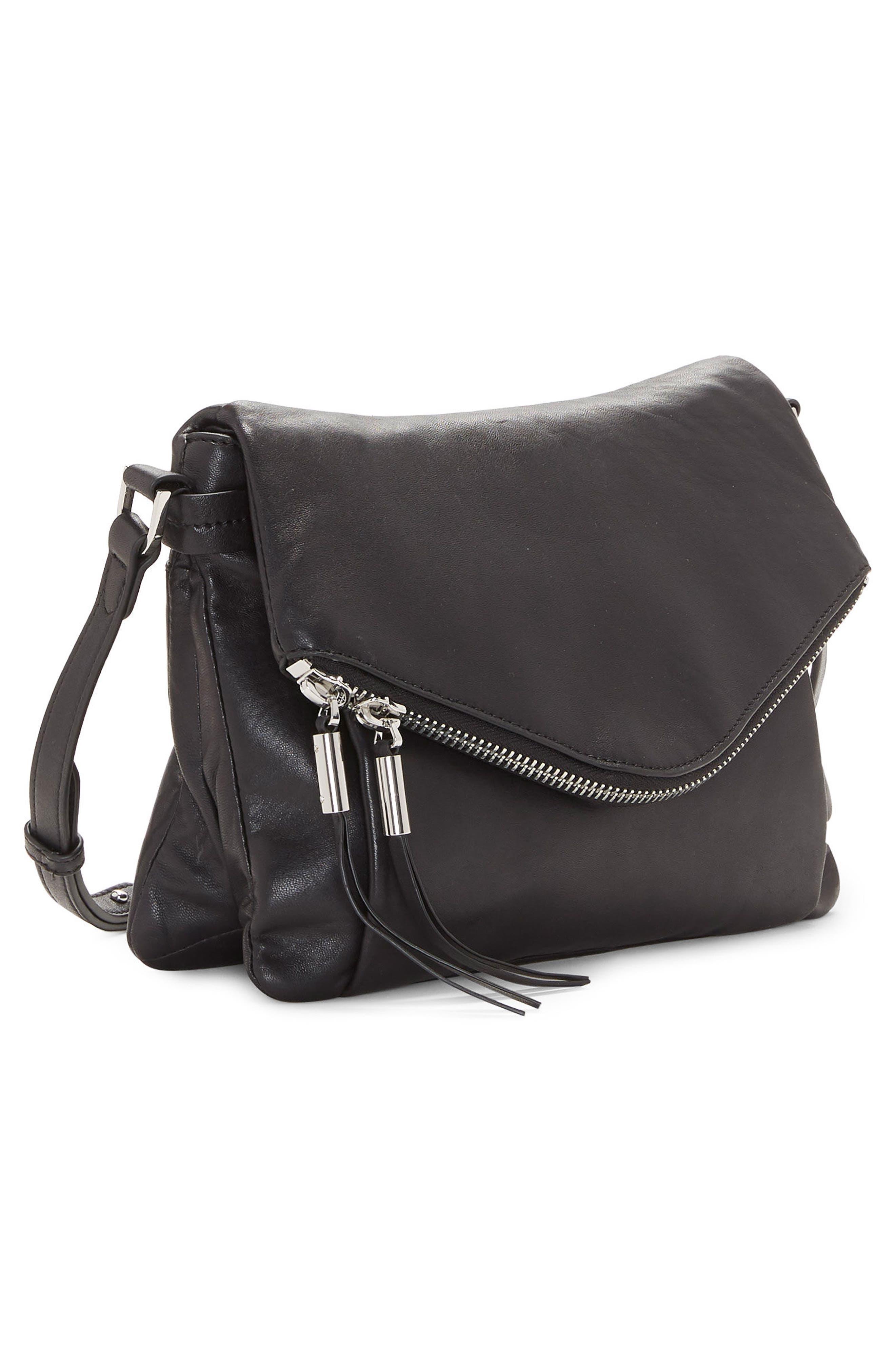 Alder Leather Crossbody Bag,                             Alternate thumbnail 4, color,                             Nero
