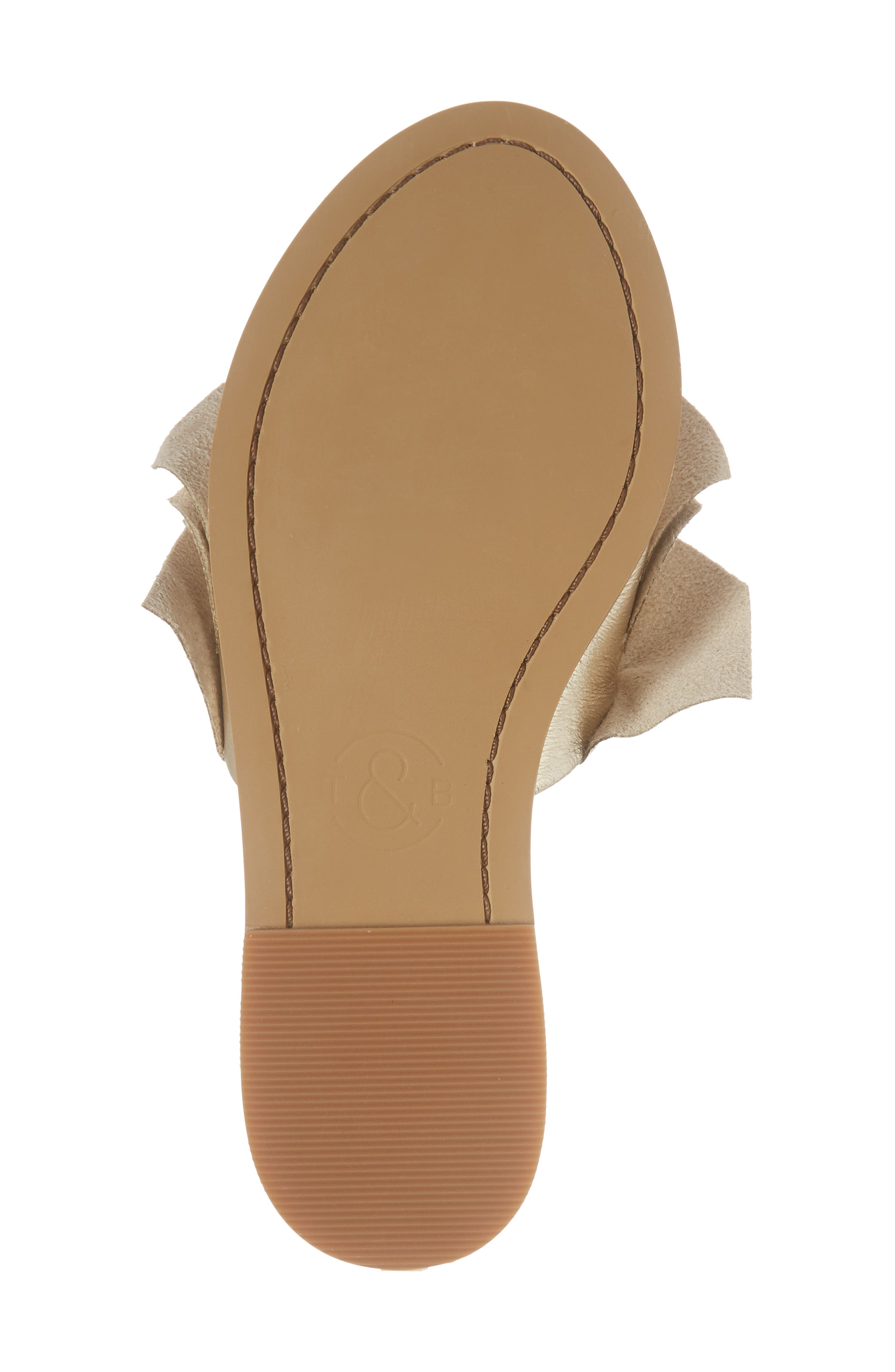 Ruby Ruffled Slide Sandal,                             Alternate thumbnail 6, color,                             Gold Crackle Faux Leather