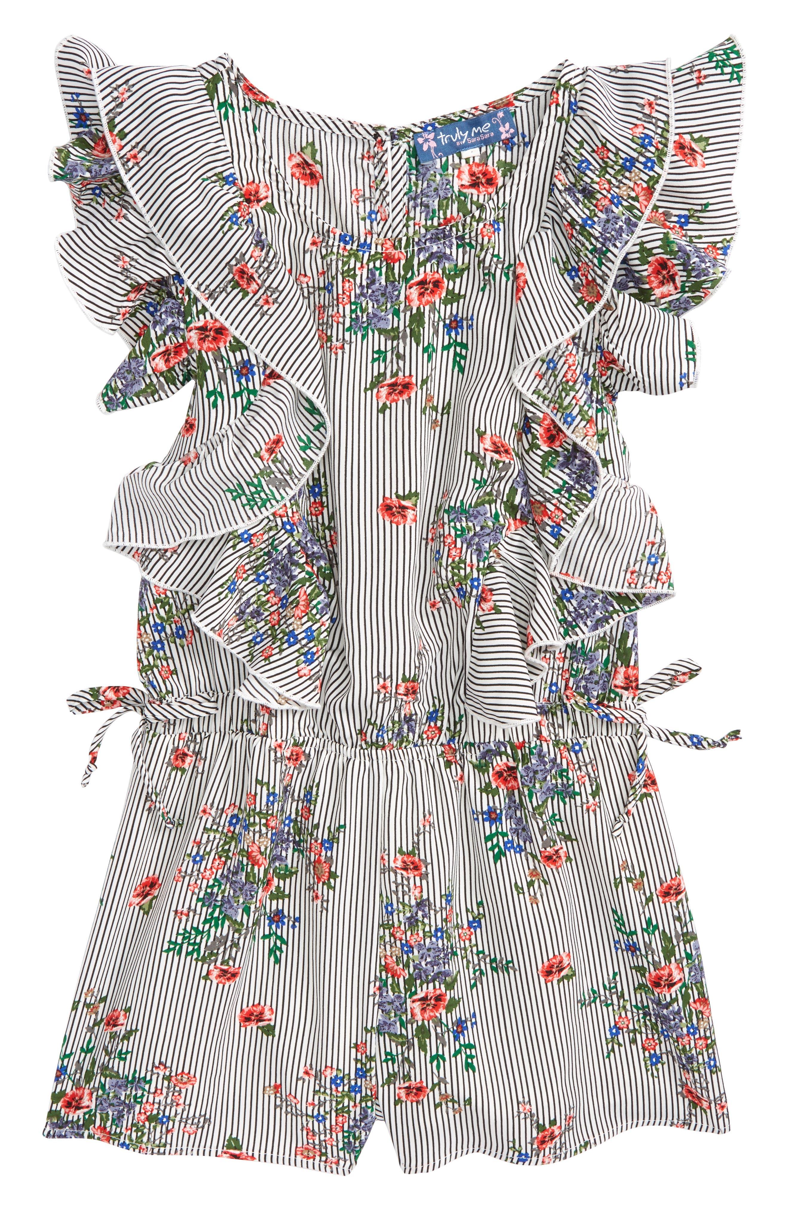Floral Ruffle Romper,                             Main thumbnail 1, color,                             Black White Stripe