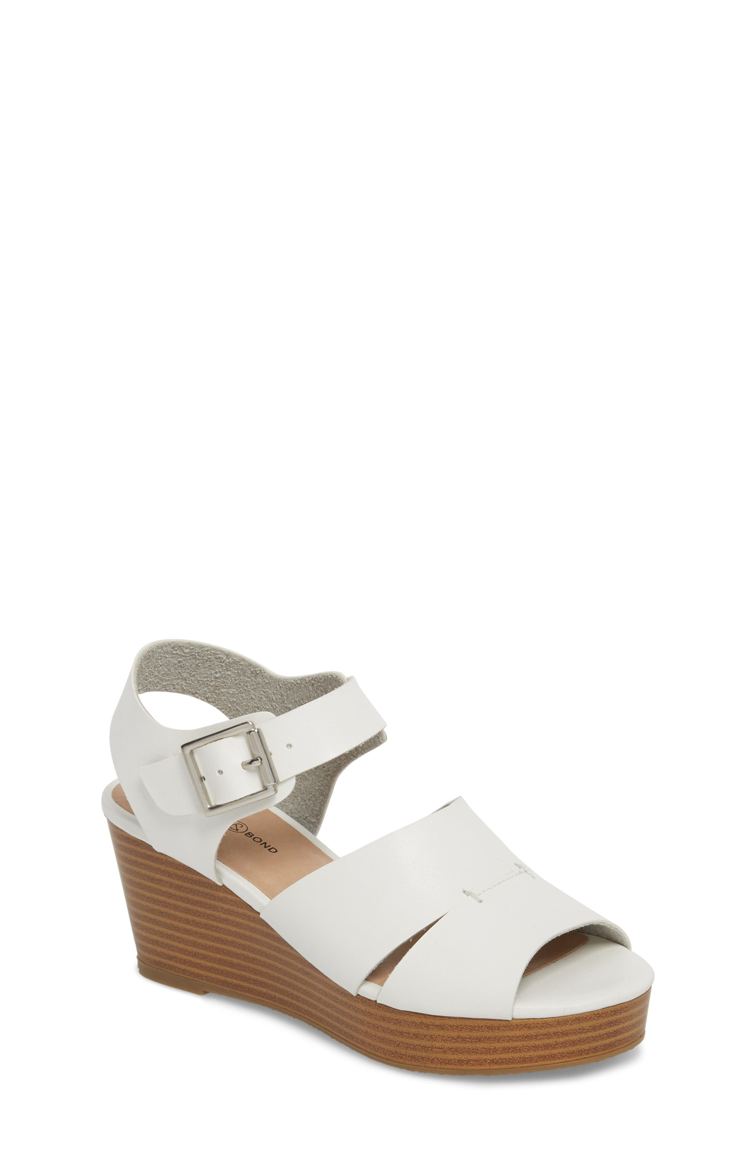 Hunter Platform Wedge Sandal,                             Main thumbnail 1, color,                             White Faux Leather
