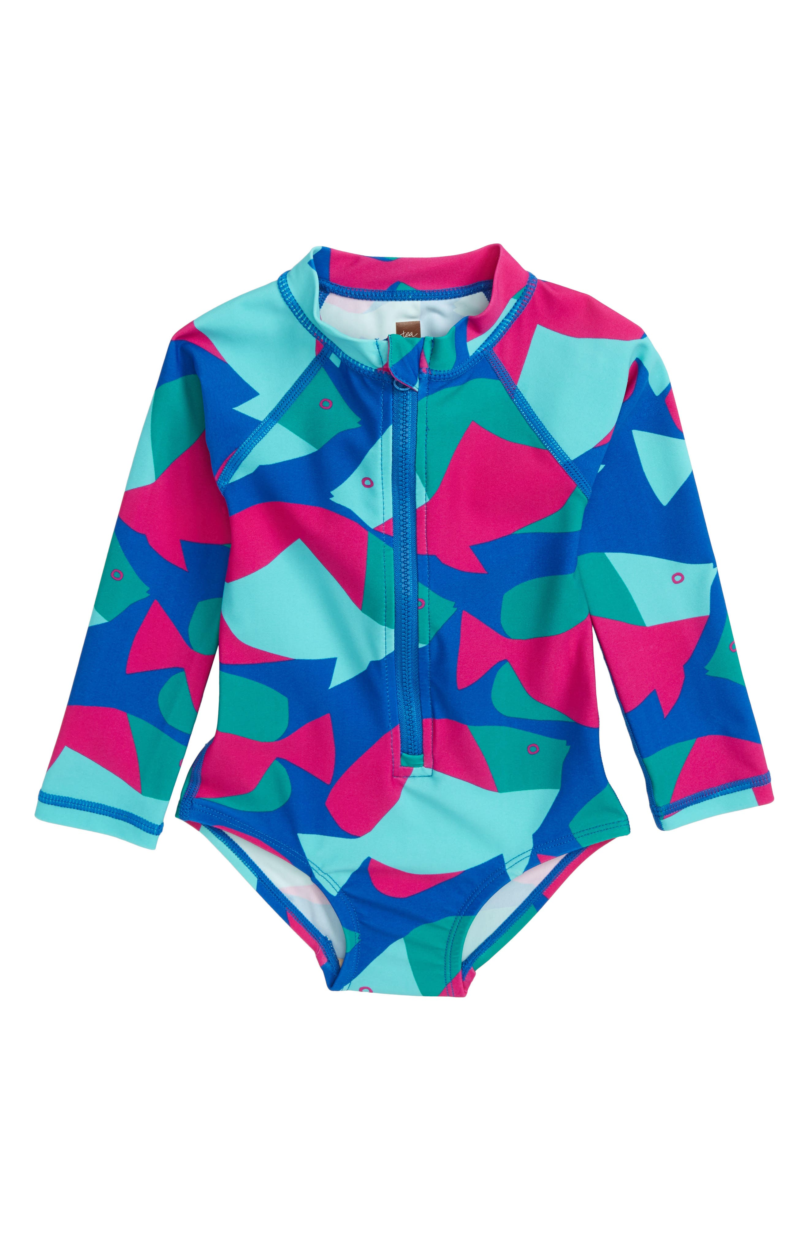 Tea Collection One-Piece Rashguard Swimsuit (Baby Girls)