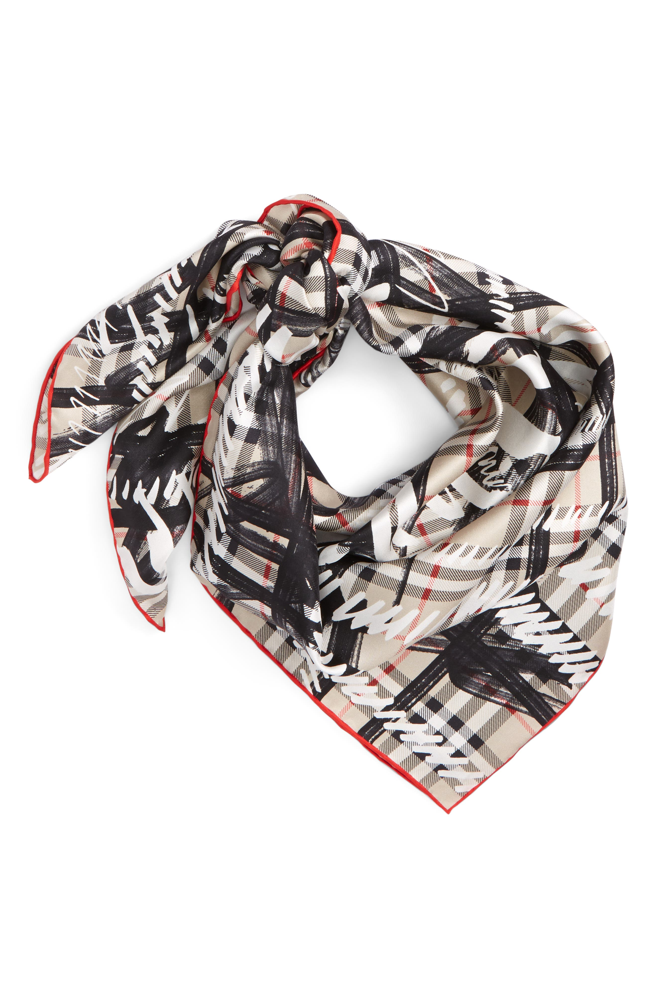 Scribble Vintage Check Silk Square Scarf,                             Main thumbnail 1, color,                             Stone