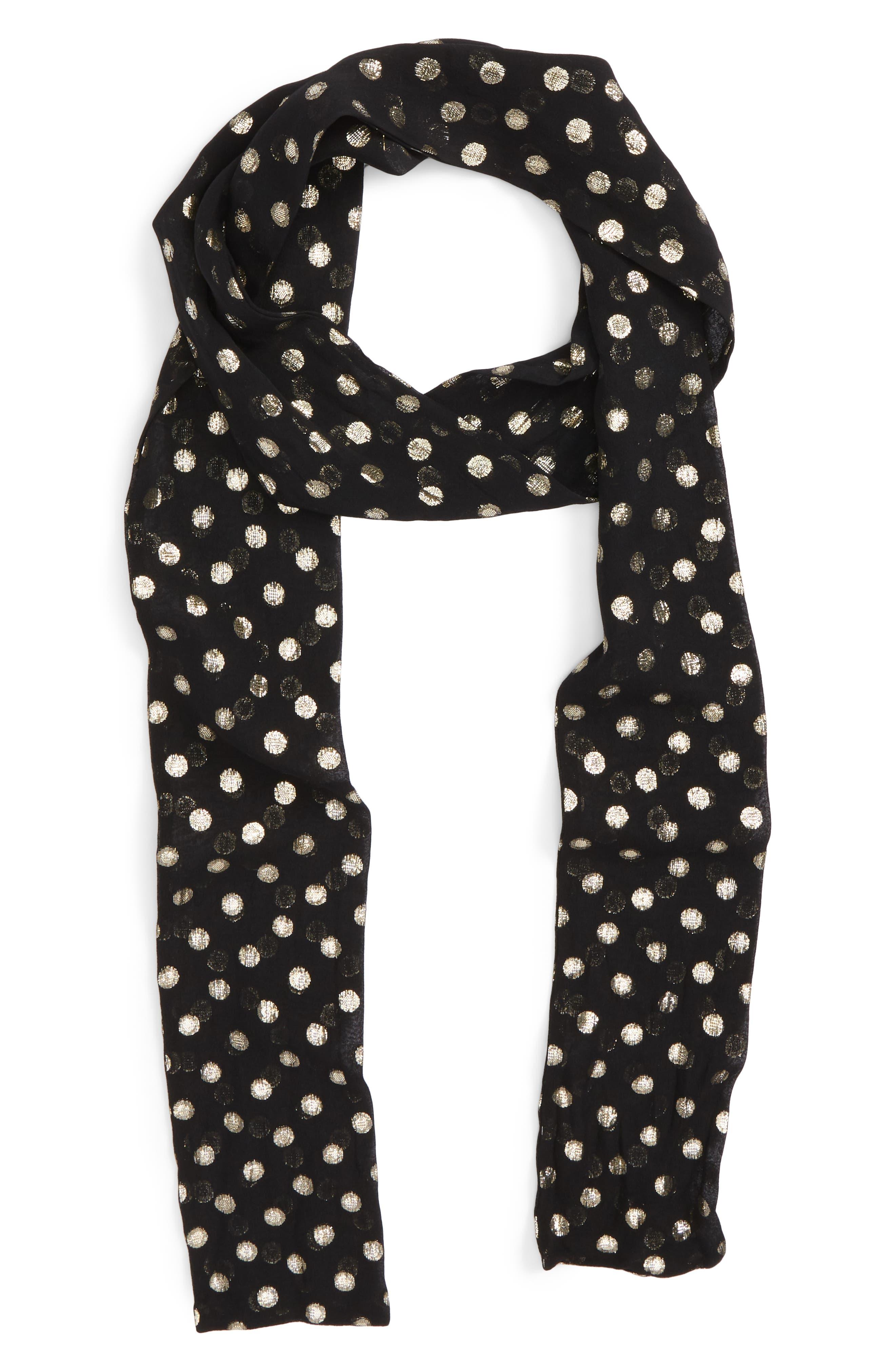 Lamé Polka Dots Skinny Silk Scarf,                             Main thumbnail 1, color,                             Black/ Gold