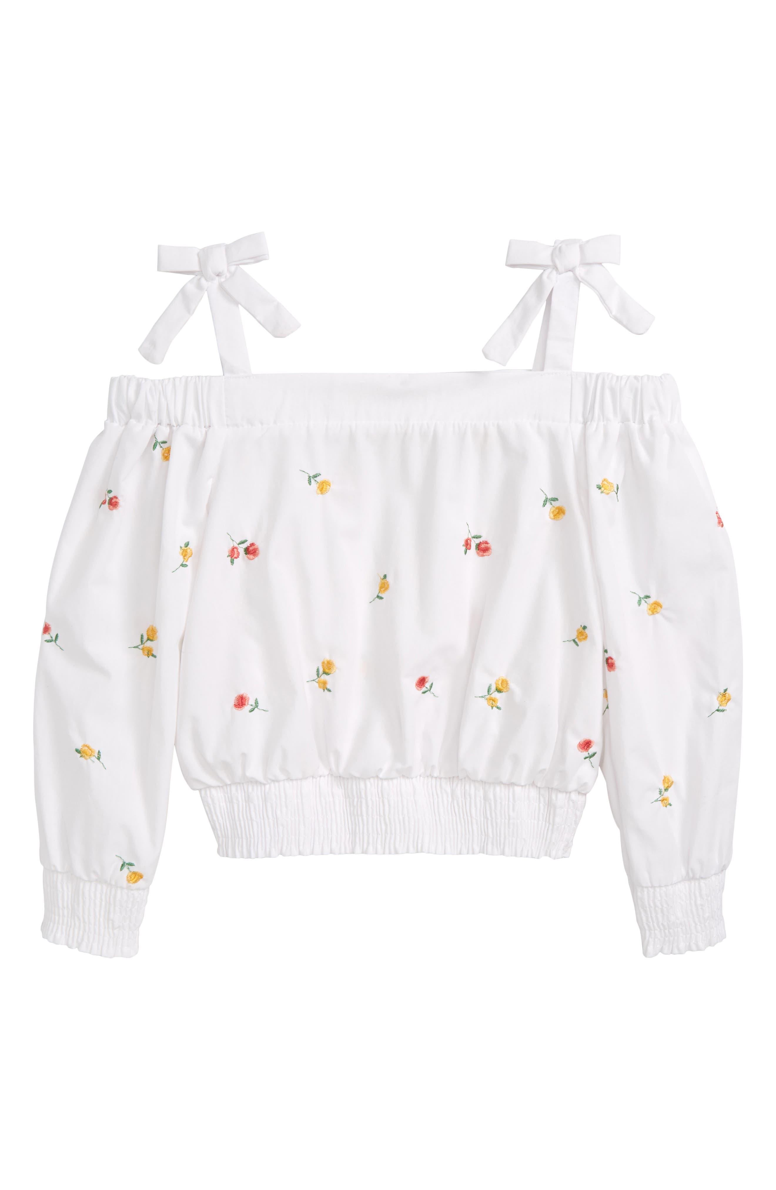 Maddie Floral Embroidery Cold Shoulder Top (Big Girls)