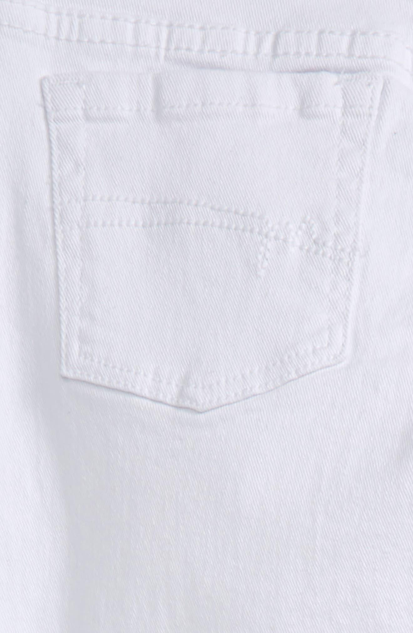 Broderie Anglaise Hem Skinny Jeans,                             Alternate thumbnail 3, color,                             White