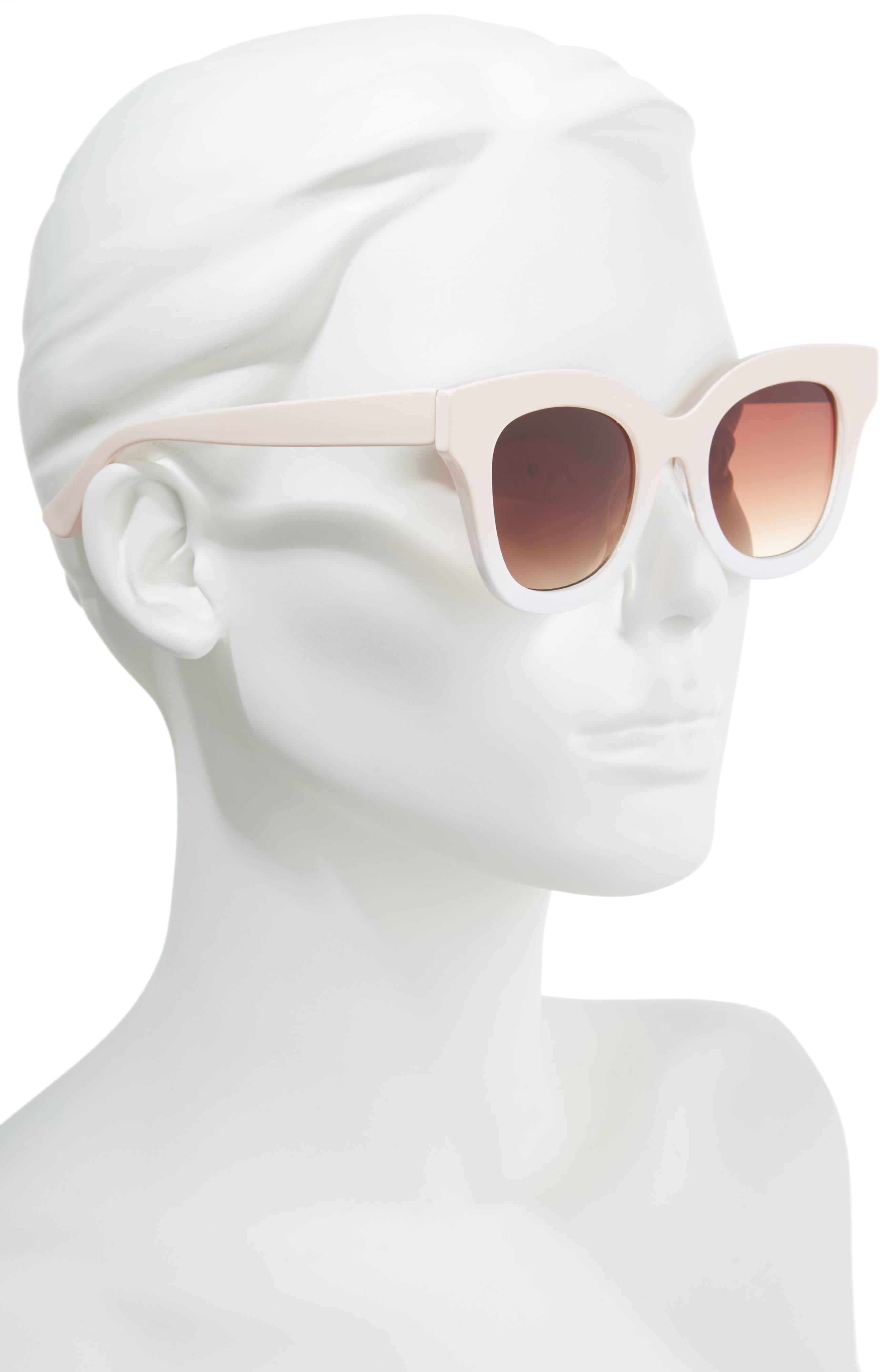50mm Ombré Square Sunglasses,                             Alternate thumbnail 2, color,                             Pink