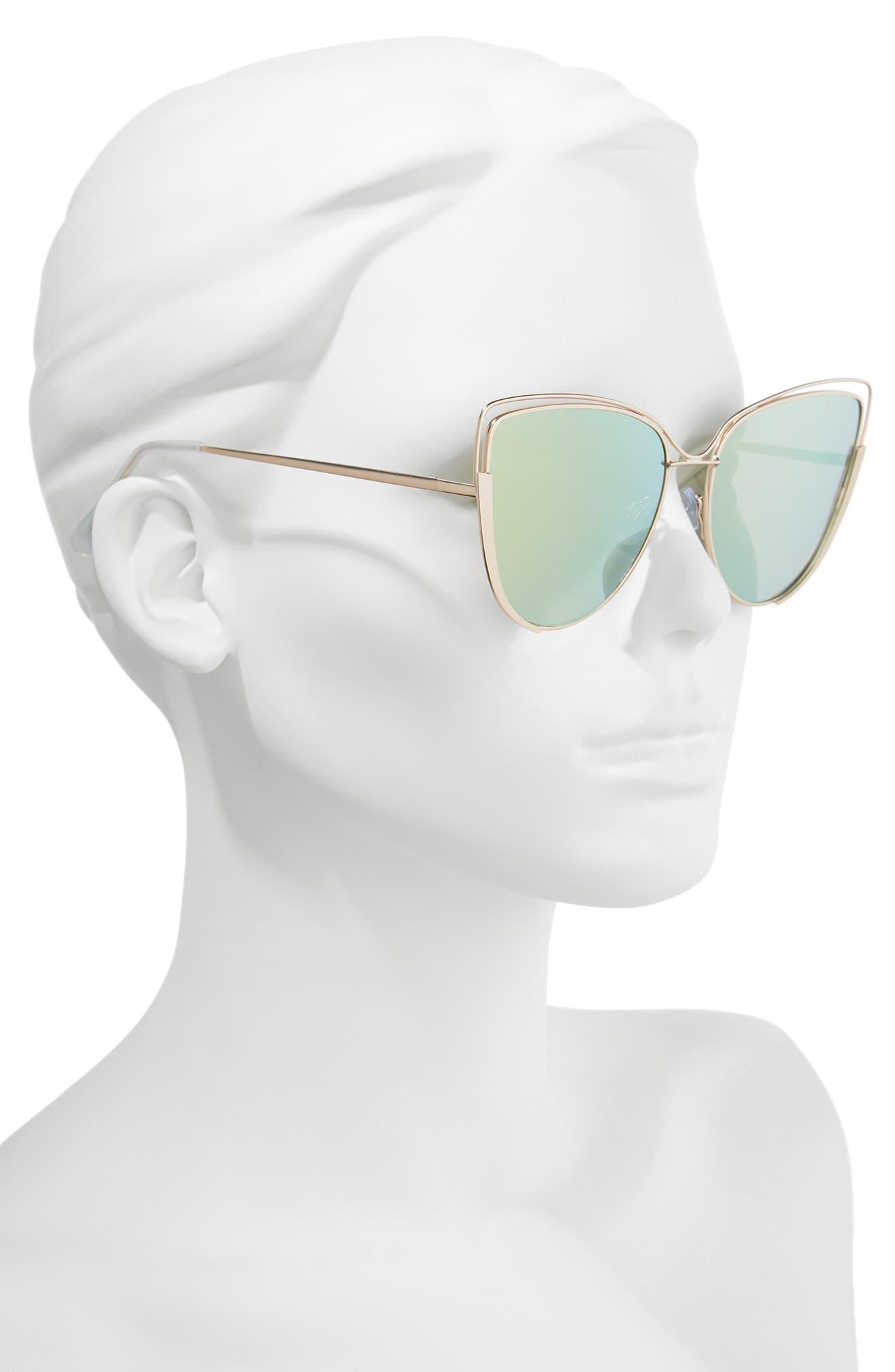 Futuristic Cat Eye Sunglasses,                             Alternate thumbnail 2, color,                             Gold