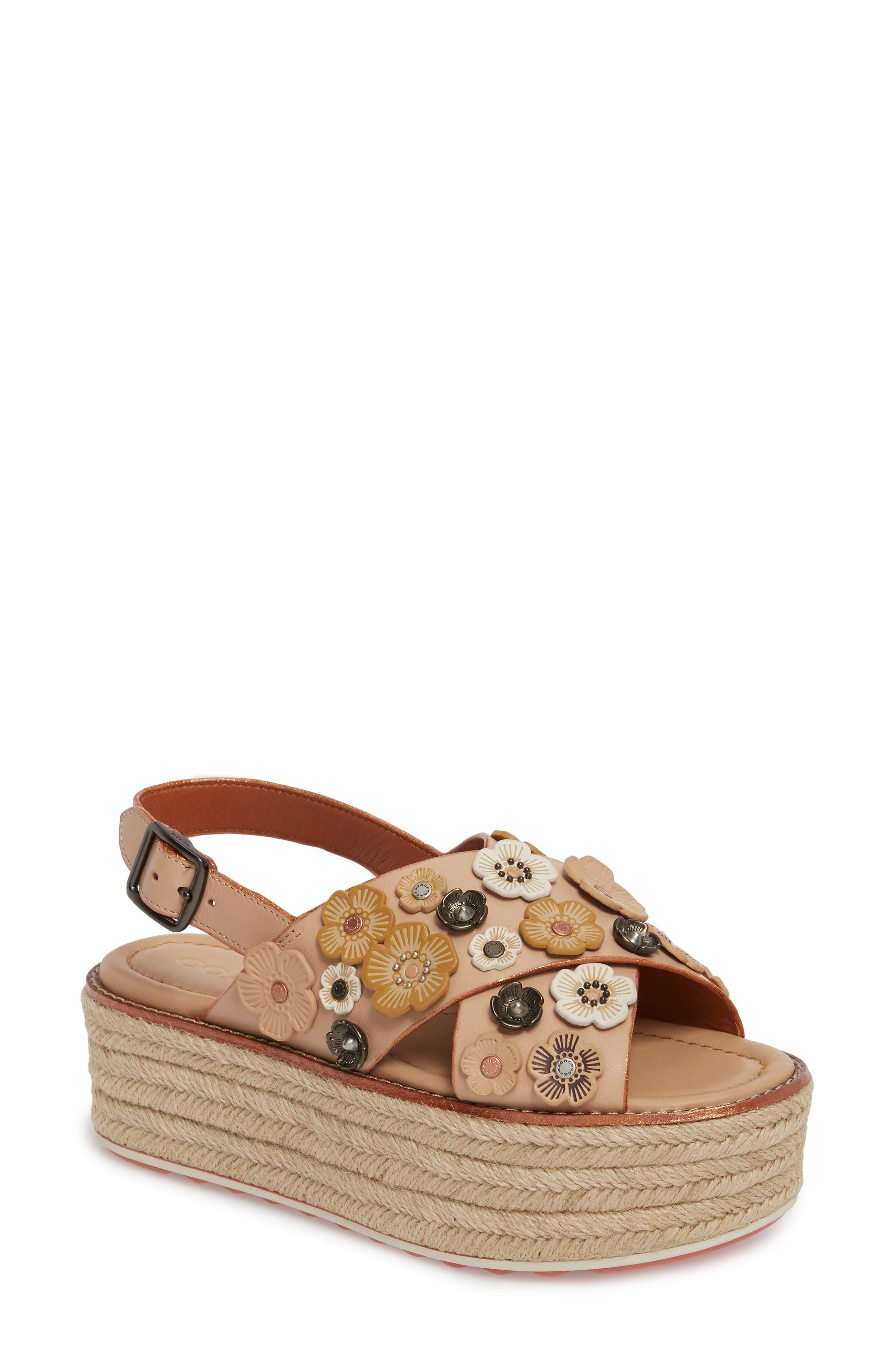 COACH Tea Rose Espadrille Platform Sandal (Women)