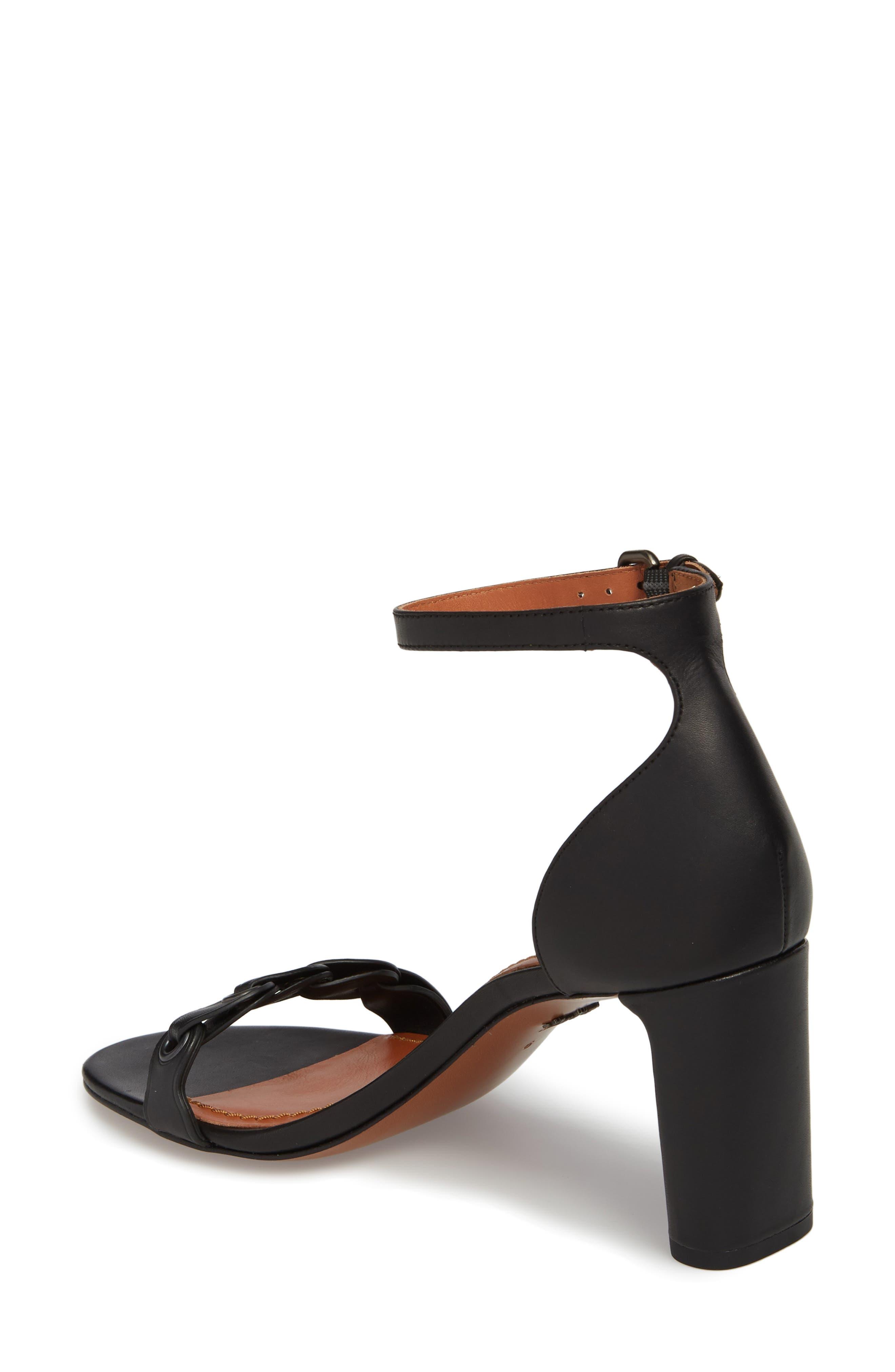 Link Ankle Strap Sandal,                             Alternate thumbnail 2, color,                             Black Leather