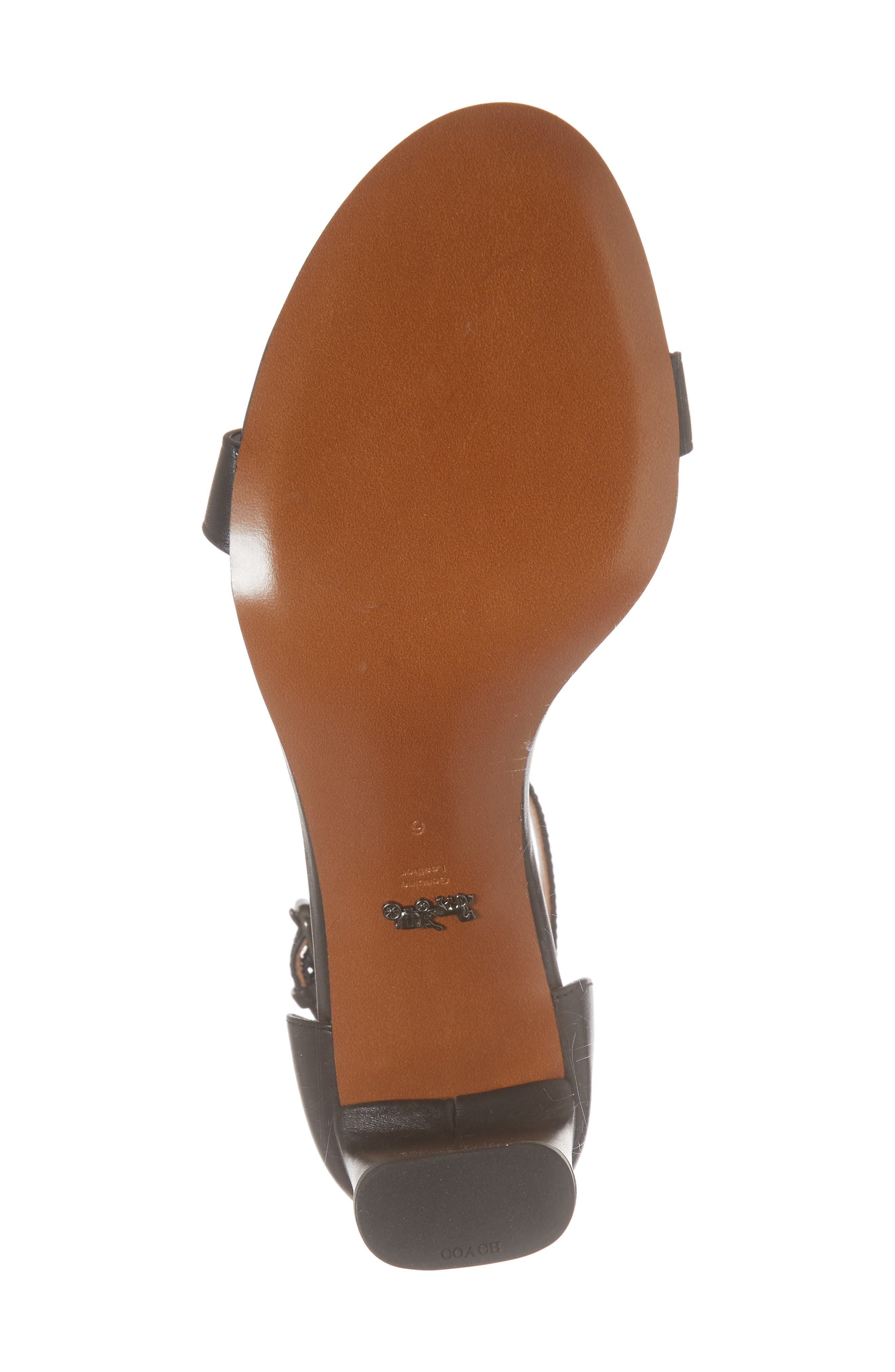 Link Ankle Strap Sandal,                             Alternate thumbnail 6, color,                             Black Leather
