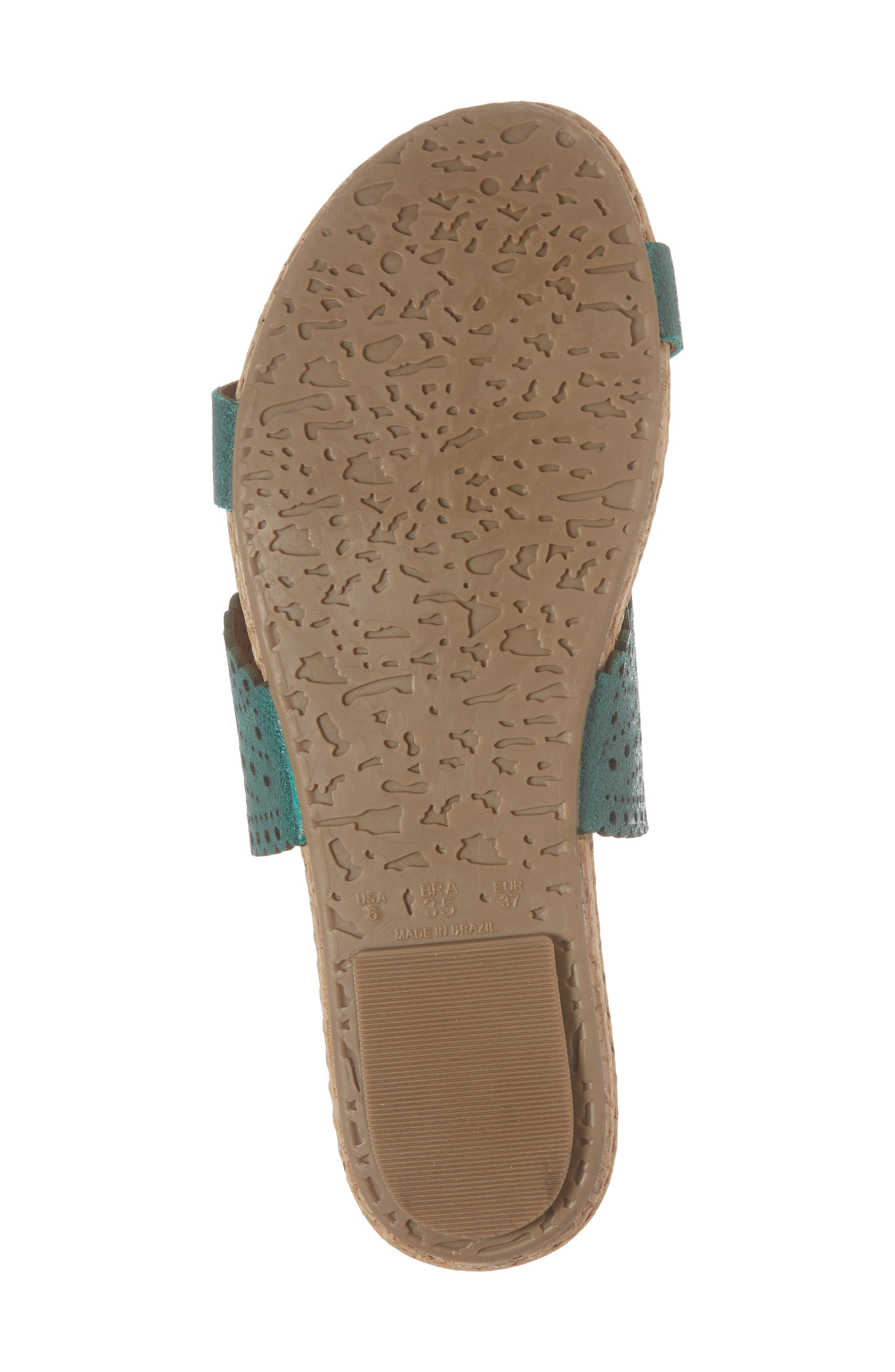 Ginette Perforated Slide Sandal,                             Alternate thumbnail 6, color,                             Ivy Leather