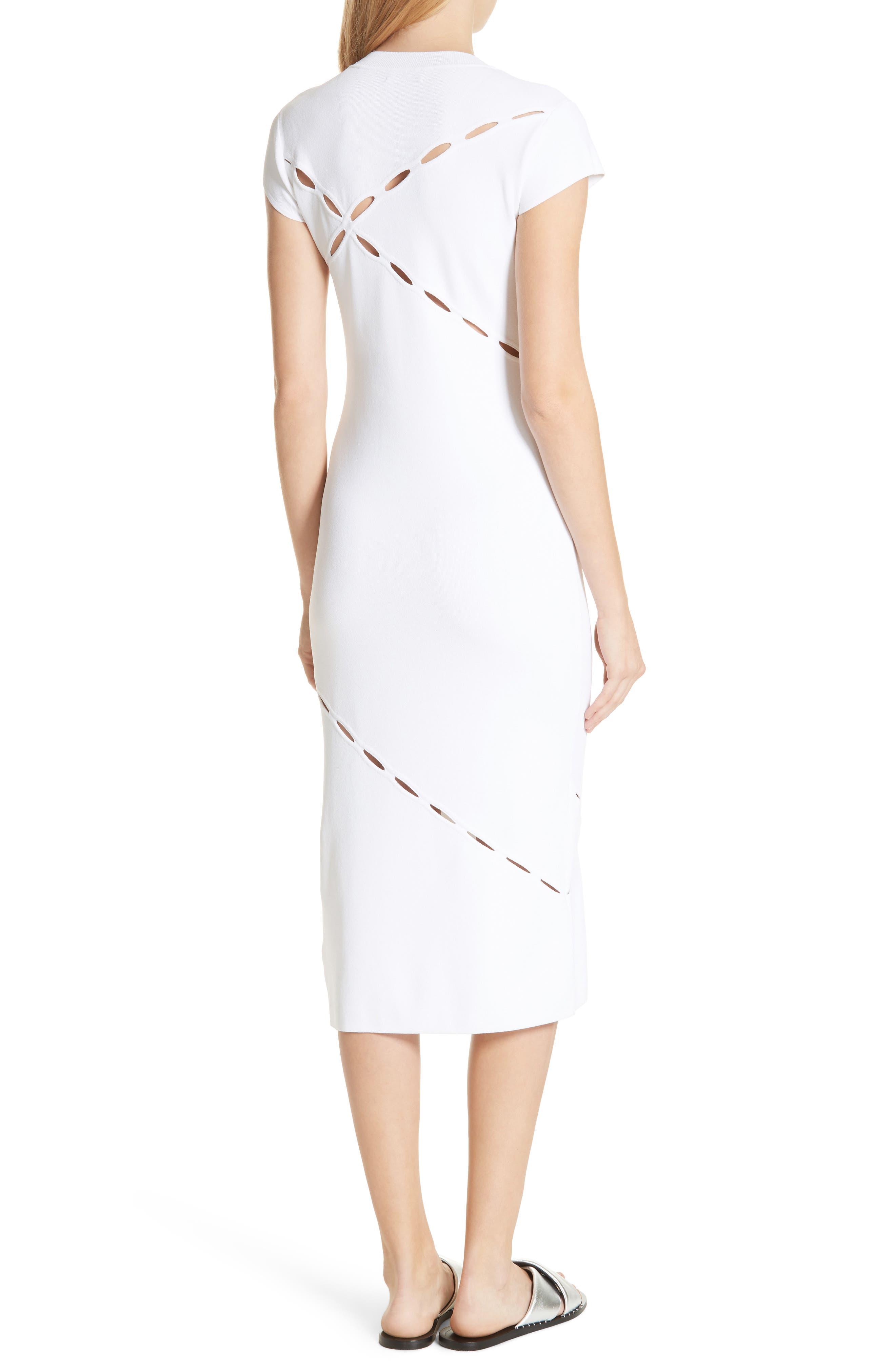 Eden Slash Detail Midi Dress,                             Alternate thumbnail 2, color,                             White