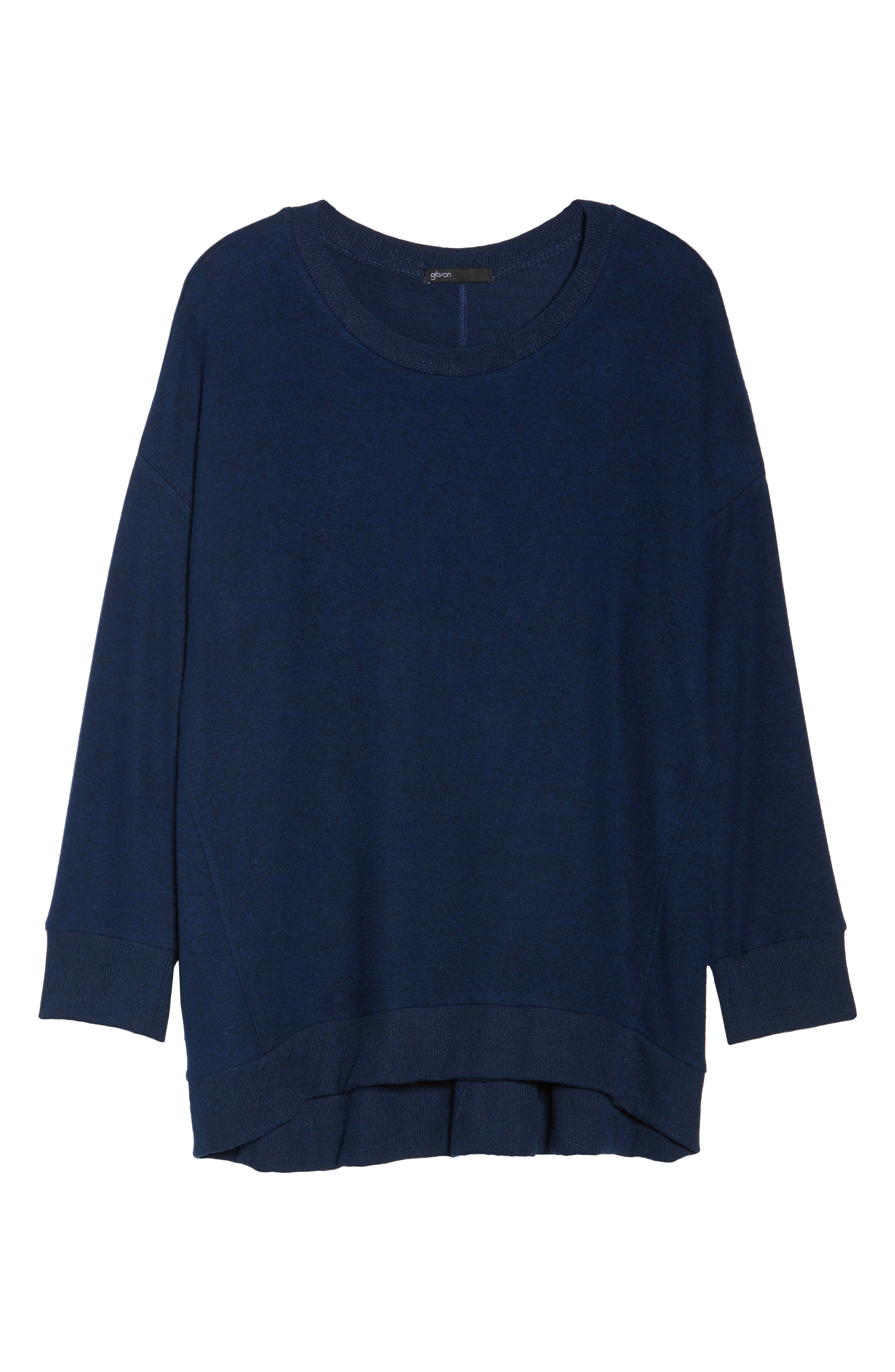 x Living in Yellow Chelsea Shirttail Sweater,                             Alternate thumbnail 8, color,                             Navy