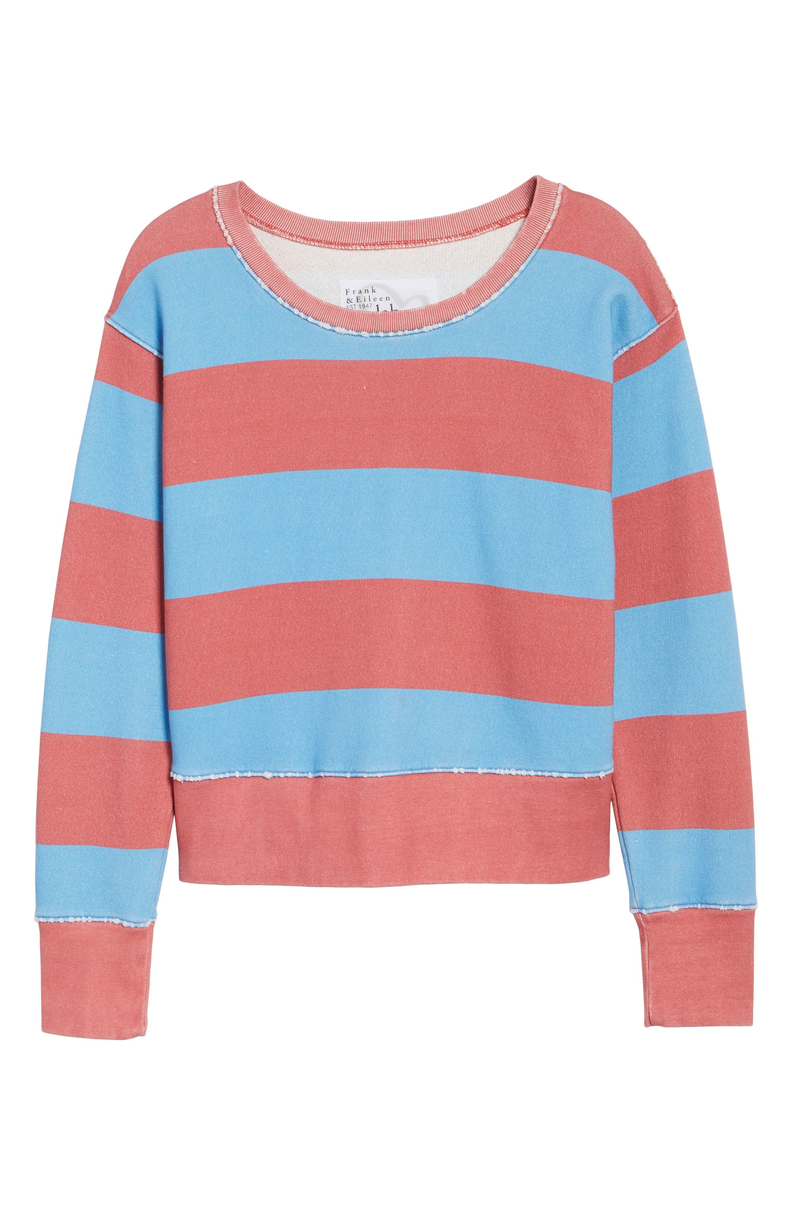 Stripe Crewneck Sweatshirt,                             Alternate thumbnail 7, color,                             Red Rugby 5 Vintage Year Wash